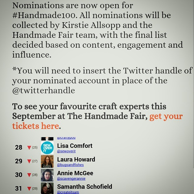 In good company with the top 100 crafters on Twitter.