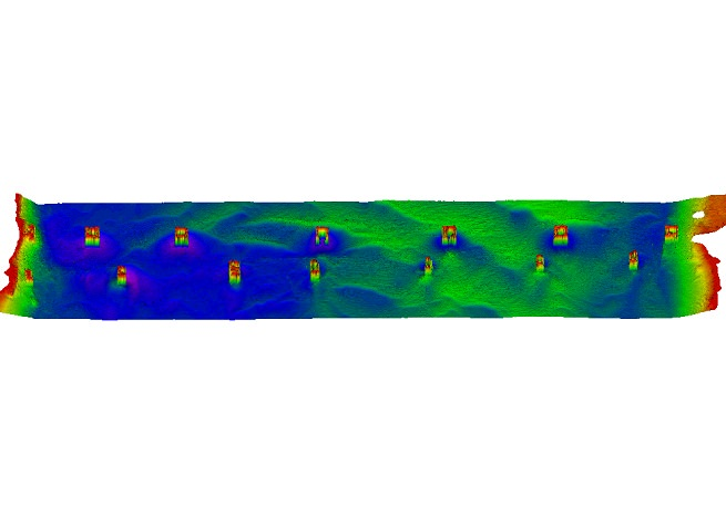 Multibeam data showing areas of shoaling and erosion around bridge structures