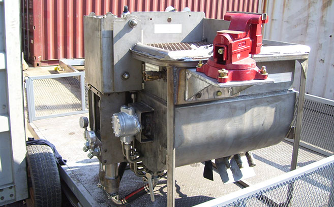 Advanced Epoxy Pump - Substructure's epoxy pump on a work site in Mexico.