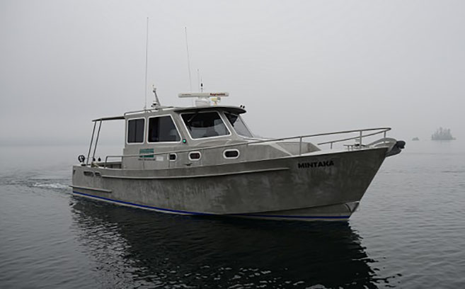 Survey Vessel Mintaka - The newest addition to Substructure's survey fleet is Mintaka, a 33' aluminum vessel custom designed for use in long-duration, near shore hydrographic surveys.