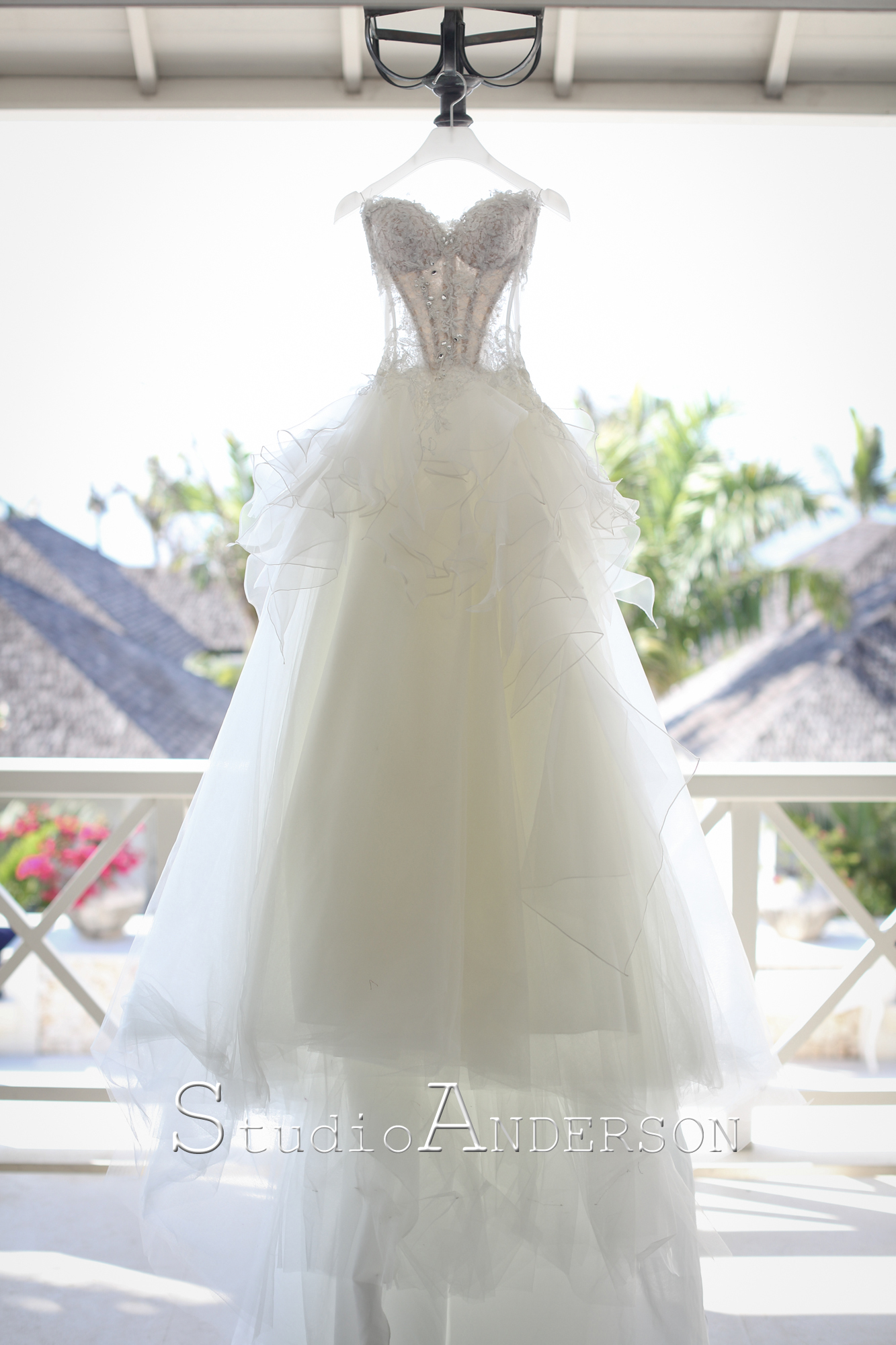 """A specially designed wedding gown for Chrisie by the famous Noel Chu. Her signature """"swim suit feature"""" has been incorporated to this design."""
