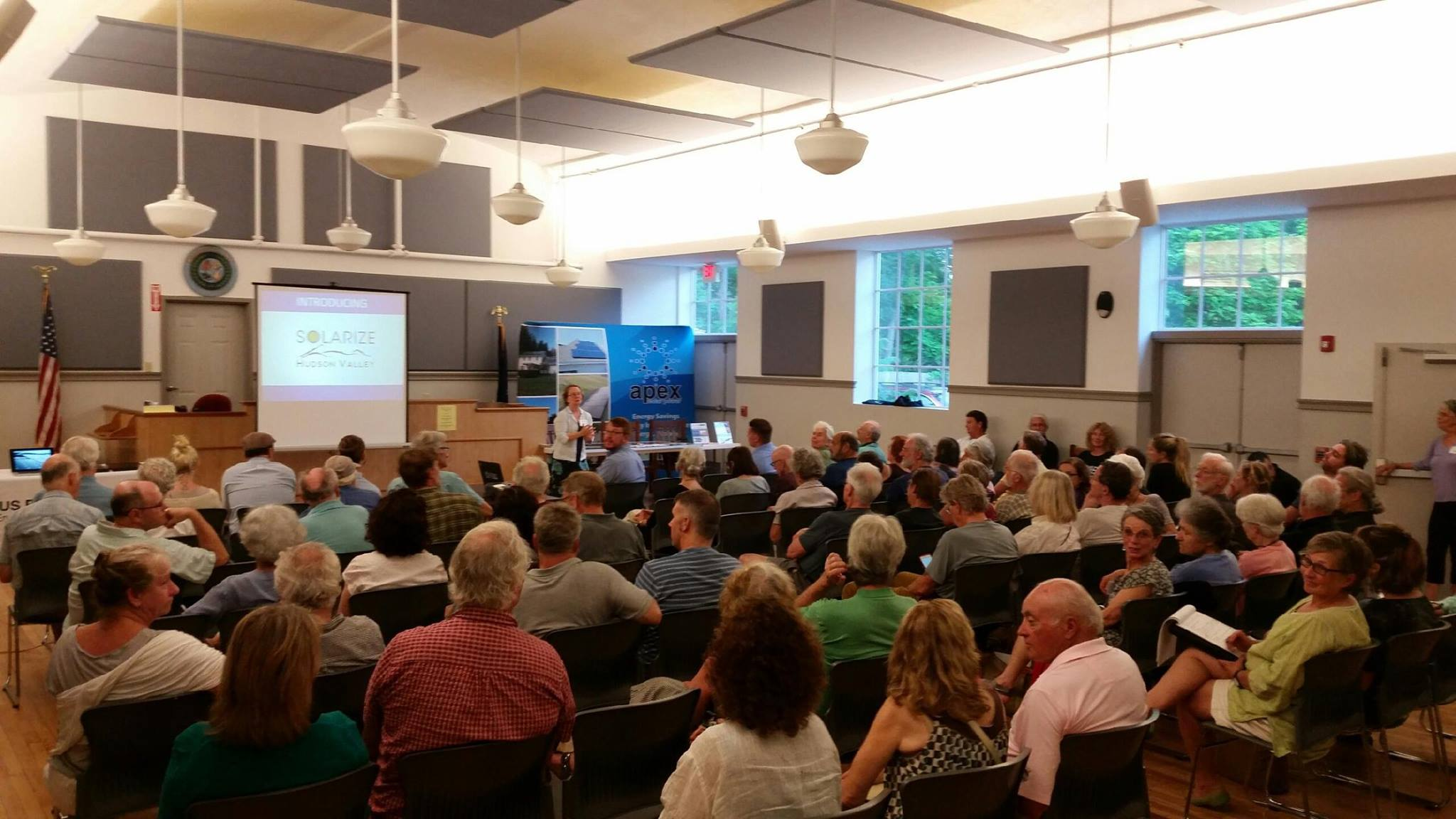Over 80 people attended this meeting held by Woodstock NY Transition's Energy Group in 2015. As a result, 40 enrolled in their Solarize Woodstock program to bulk-purchase roof-mounted solar photovoltaic systems at a reduced price.