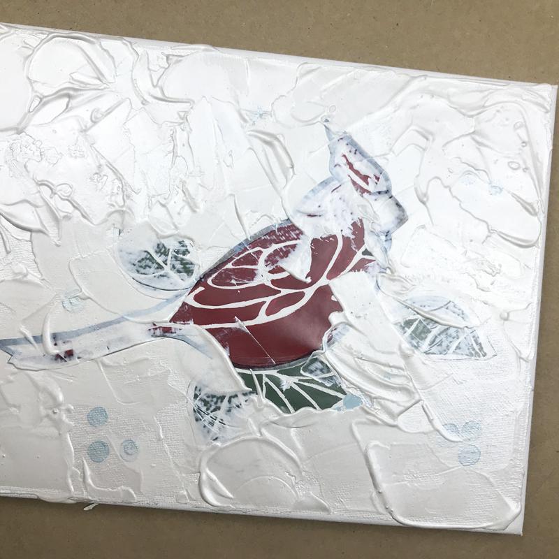 Metallic texture on cardinal wall art