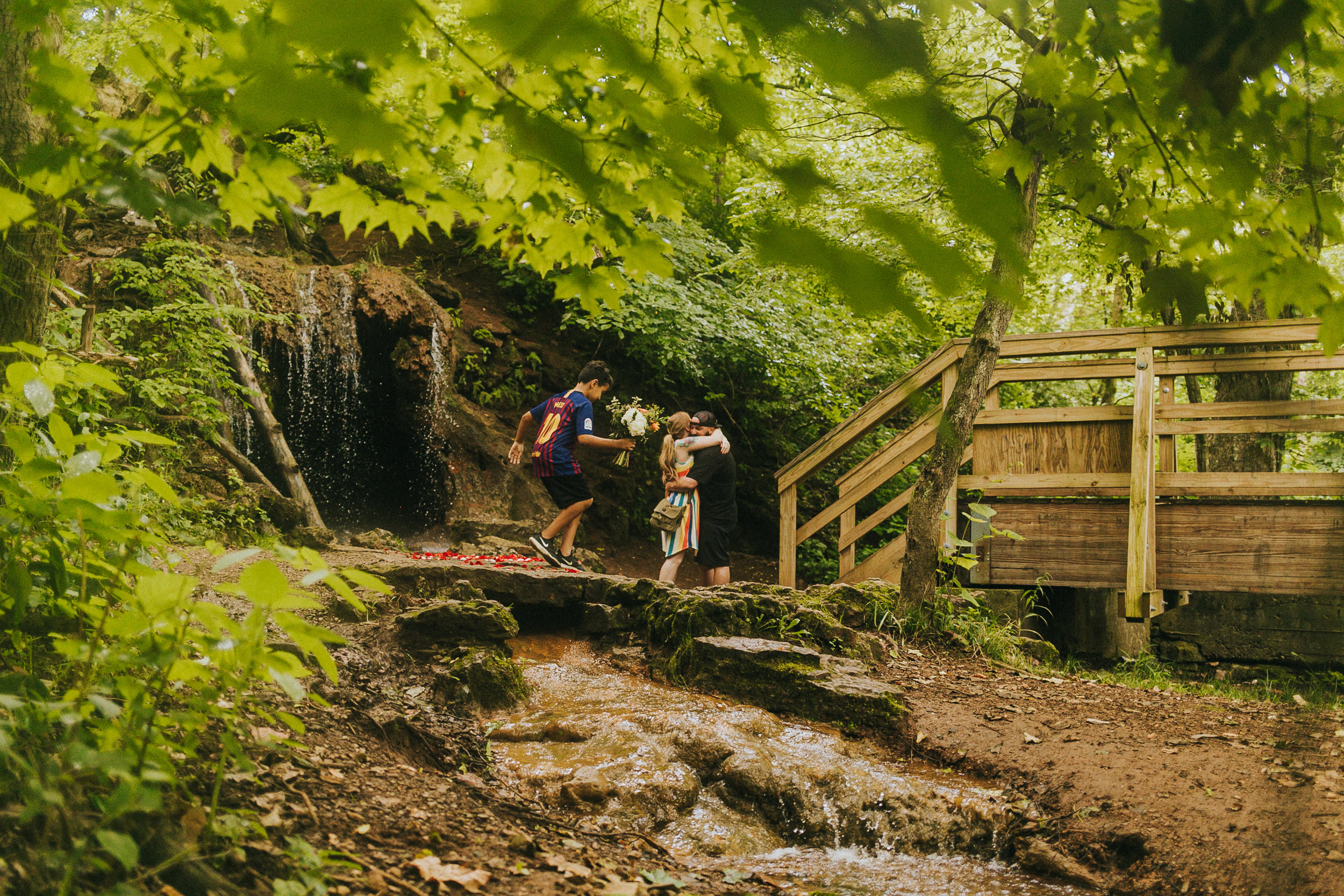 yellow springs proposal at The Grotto in Glen Helen Nature Preserve