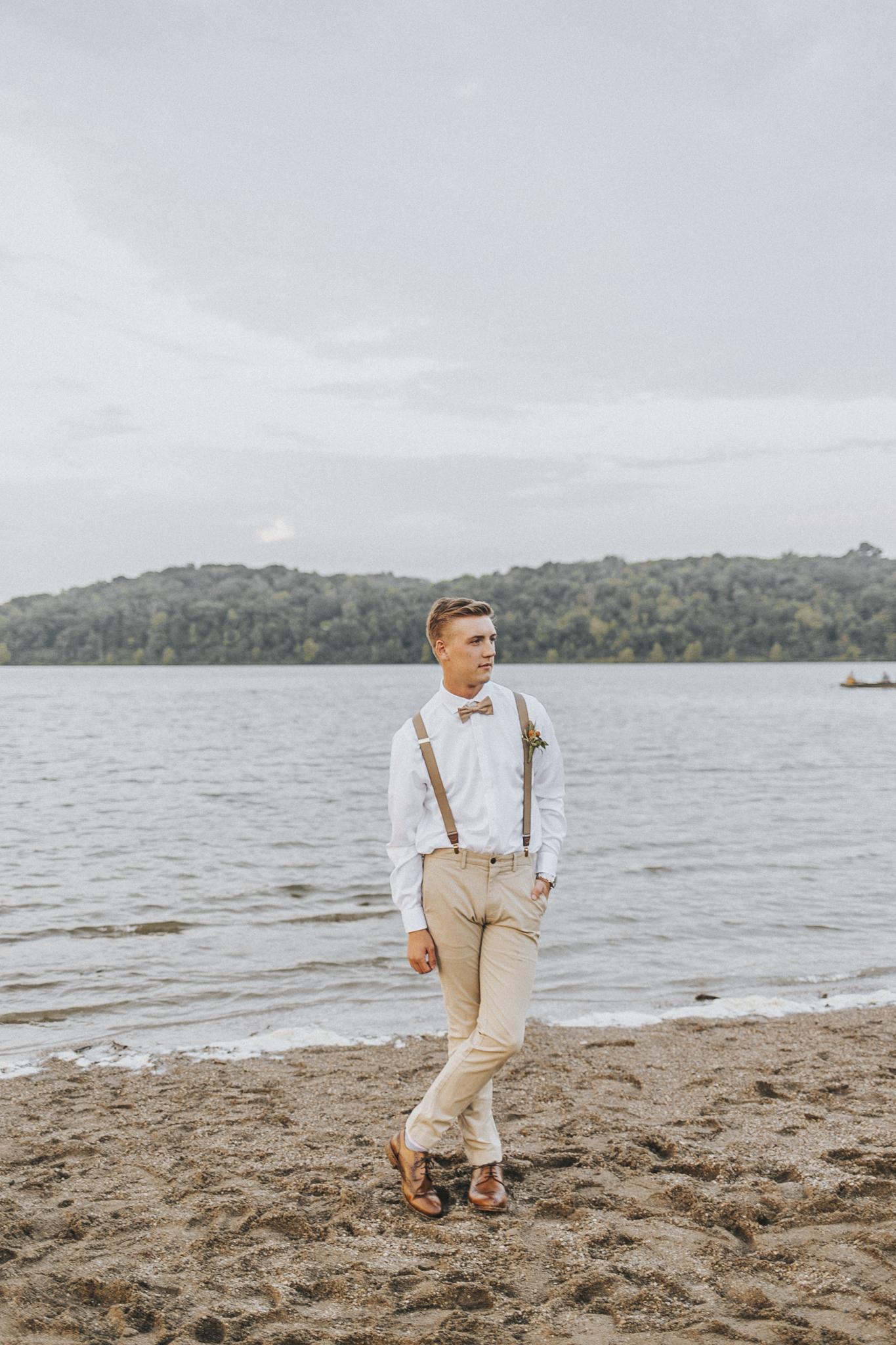 Groom portrait Shots, Cincinnati Wedding Photography at East Fork Lake, Beach Wedding Photography
