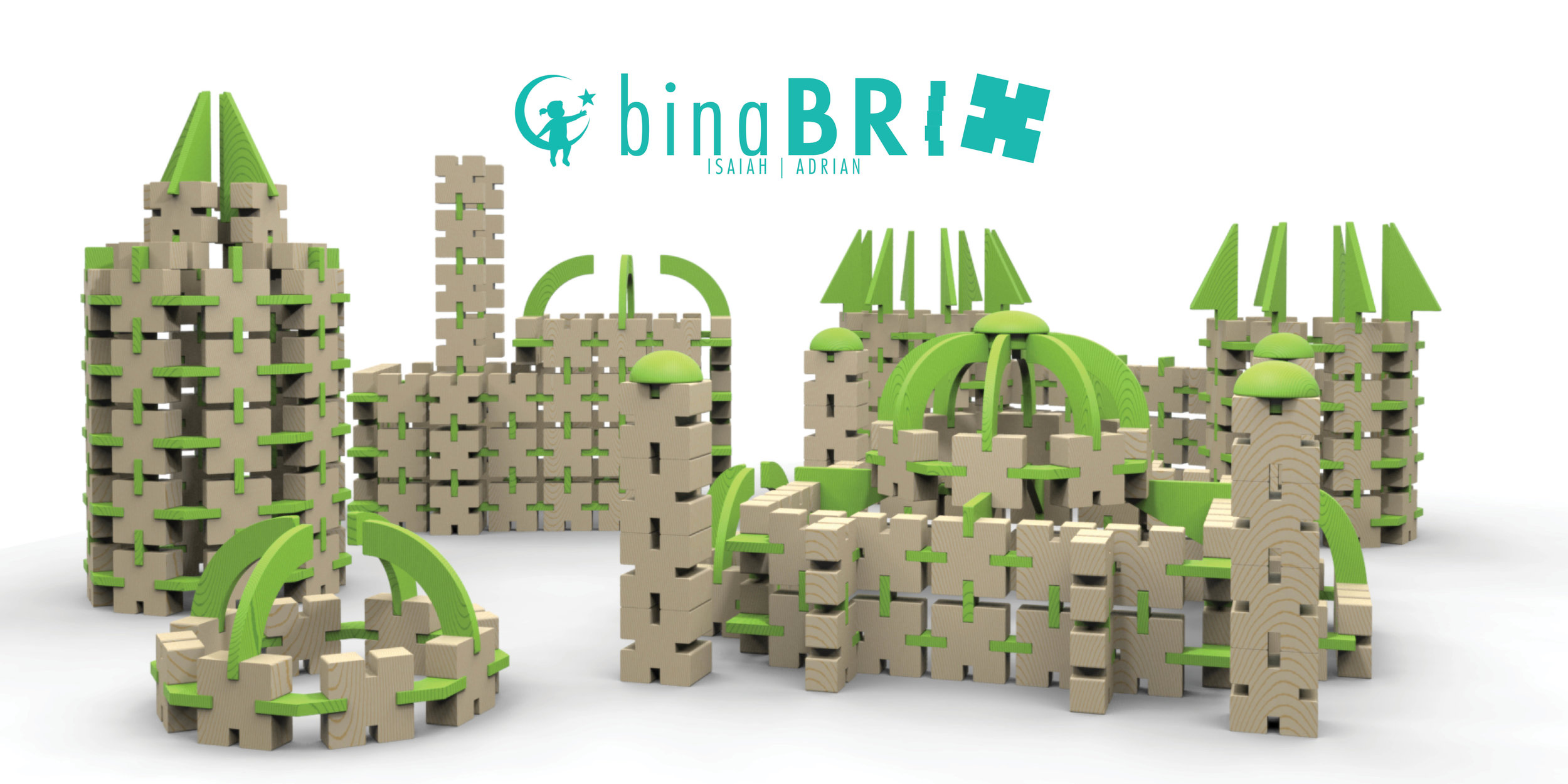 Bina Brix for BTSTeaching history through architecture - Bina Brix is a result of her Industrial Design students Isaah Jones, and Adrian Karaan's work during the Fall 2016 semester.Bina bricks are an educational tool that feature 4 slits where connector pieces and attachments can smoothly fit to connect more blocks or feature a prominent piece. These blocks are paired with a process book that guide the students towards their end goal of kids build Turkish architectures, they will also engage in creative play and learning.