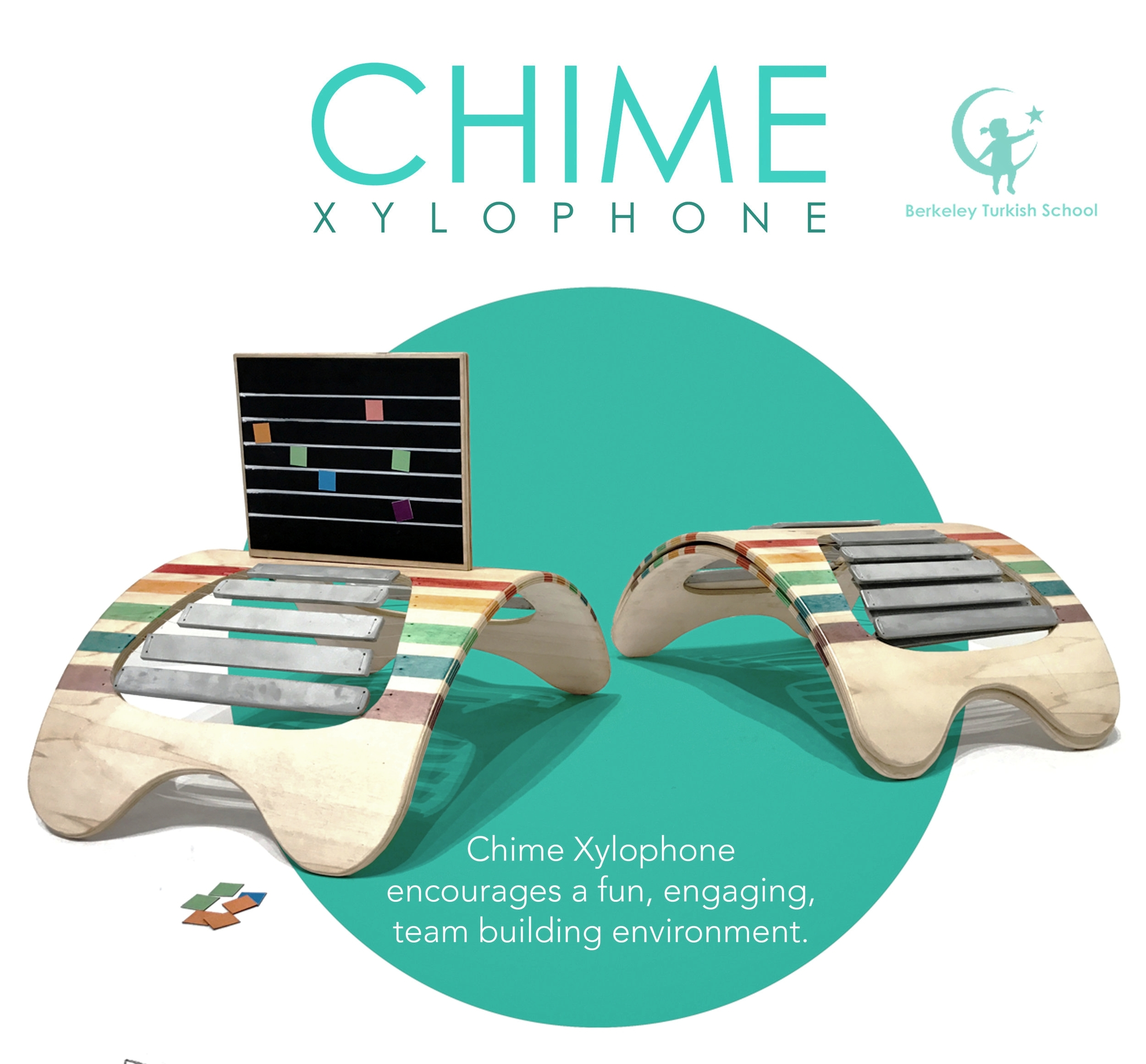 CHIME XylophoneA study in the universal language of music - Inspired by the premise that language of music is universal, in the Spring 2017 Semester Industrial Design students Hugo Waldern & Xander Tocher in Başak Altan's class designed this collaborative music education tool for BTS.Chime Xylophone's goal is to enhance the class dynamic by encouraging children to both play individually and as well as in a team.