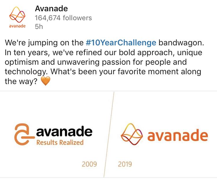 The Avanade Trendjacking #10YearChallenge on LinkedIn.