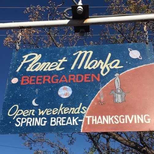 PLANET MARFA - WITH ITS SWING CHAIRS, PING PONG TABLES, AND TEEPEE, PLANET MARFA IS ALLISON CRAWFORD'S FAVORITE BEER GARDEN. JUST NOTE, IT'S ONLY OPEN WEEKENDS FROM SPRING BREAK TO OCTOBER.