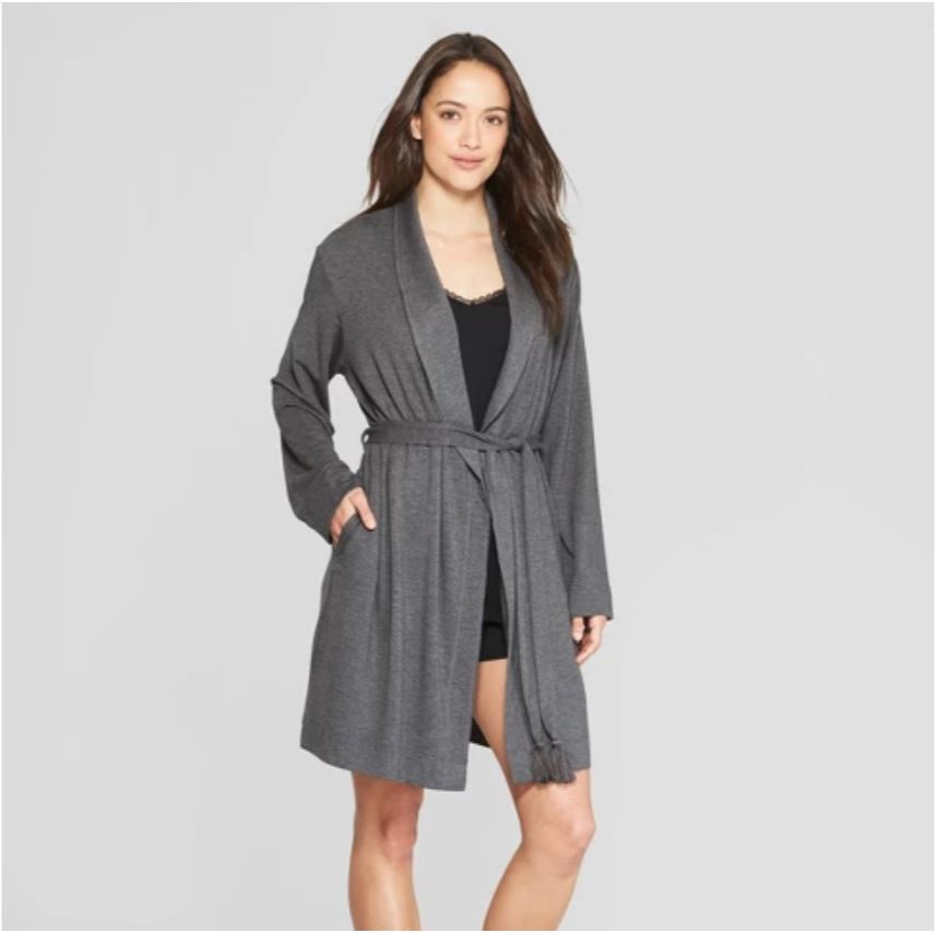 I love this robe from  Target  because it looks more like a sweater than a traditional robe, and that soft t-shirt-like material is the best. And it's only $27.99