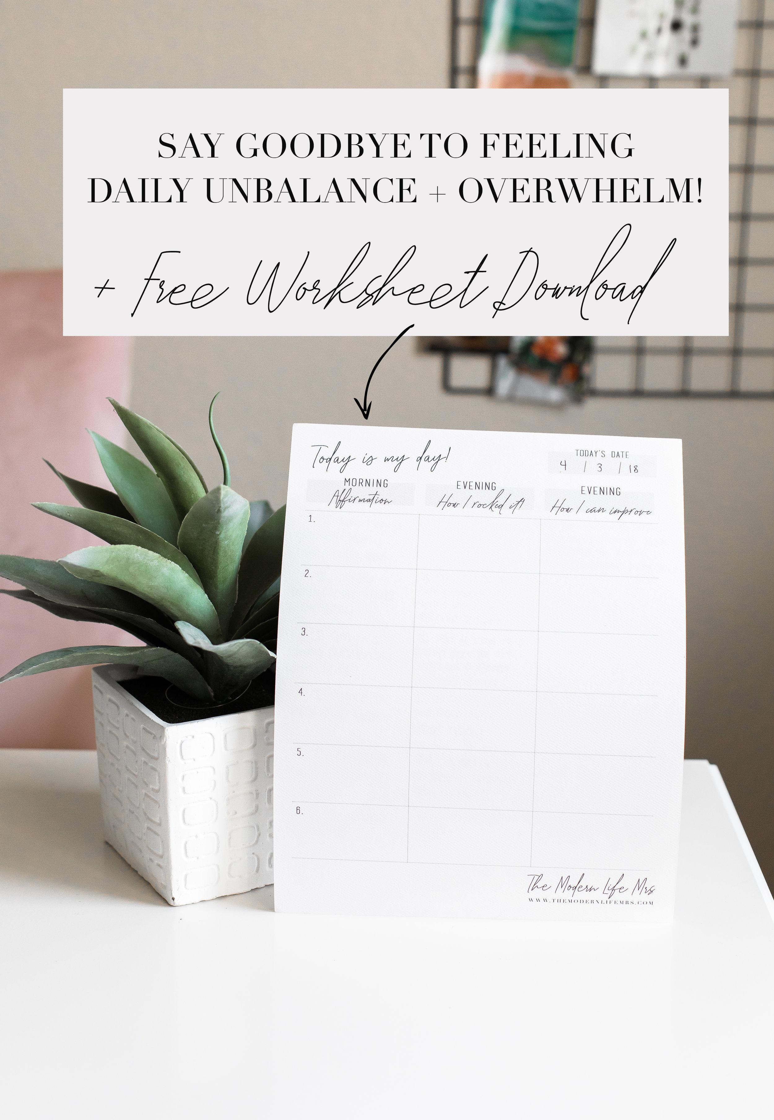 Free Worksheet Download for Finding Balance