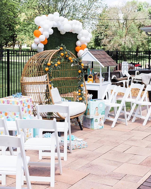 "Here are some photos of our 'Lil Cutie' 🍊🍃baby shower!! More to come but just had to share! ⁣ ⁣ I'm Still so grateful for all of the ladies who made this day so special. Our little man is going to have a lot of amazing ""aunties"" in his life!!⁣⁣ ⁣⁣ Also, thinking I should do a tutorial on the orange garland and orange towers I made? What do you think?! 🍊🤩"