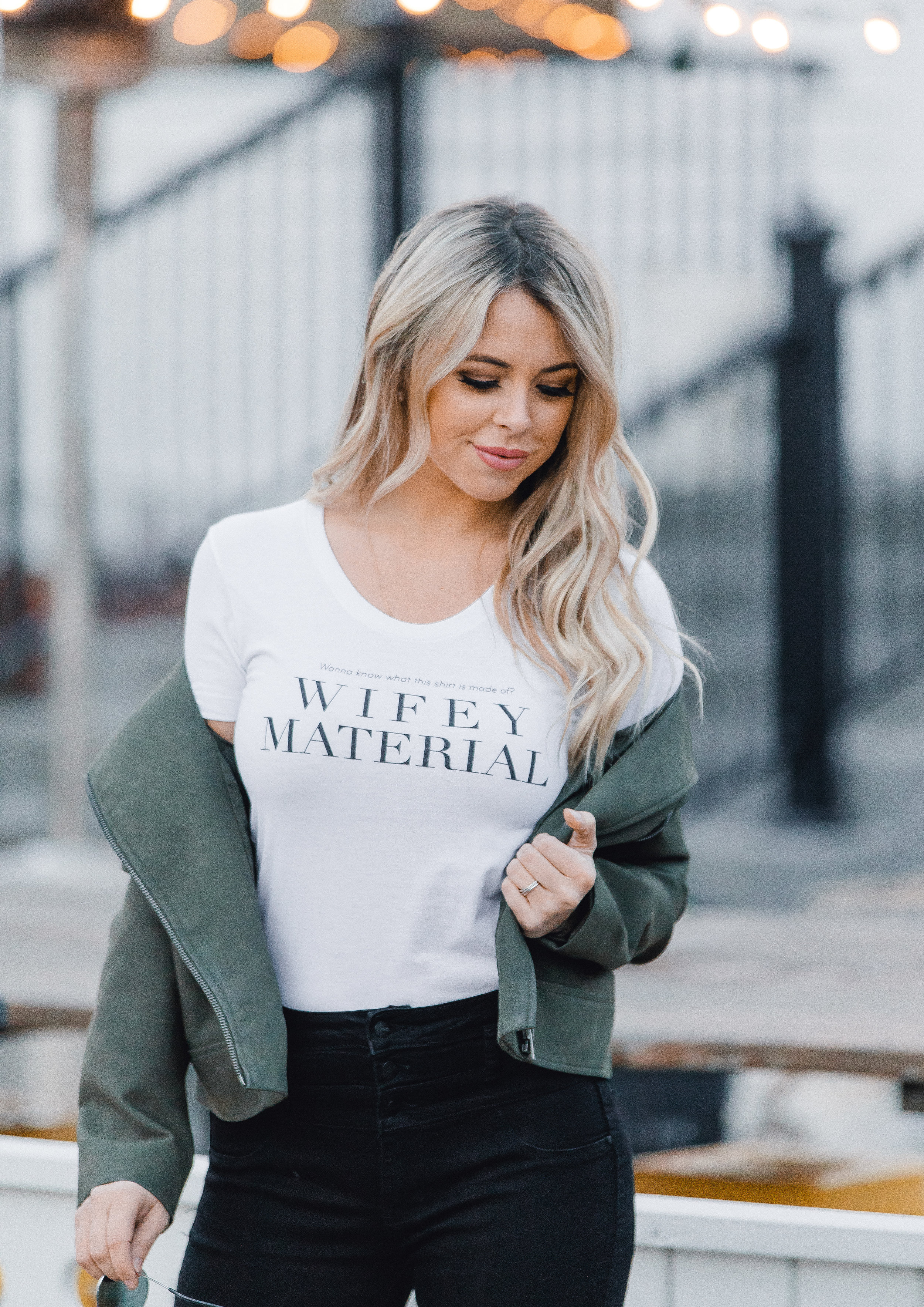"""""""Wanna know what this shirt is made of? WIFEY MATERIAL"""" 