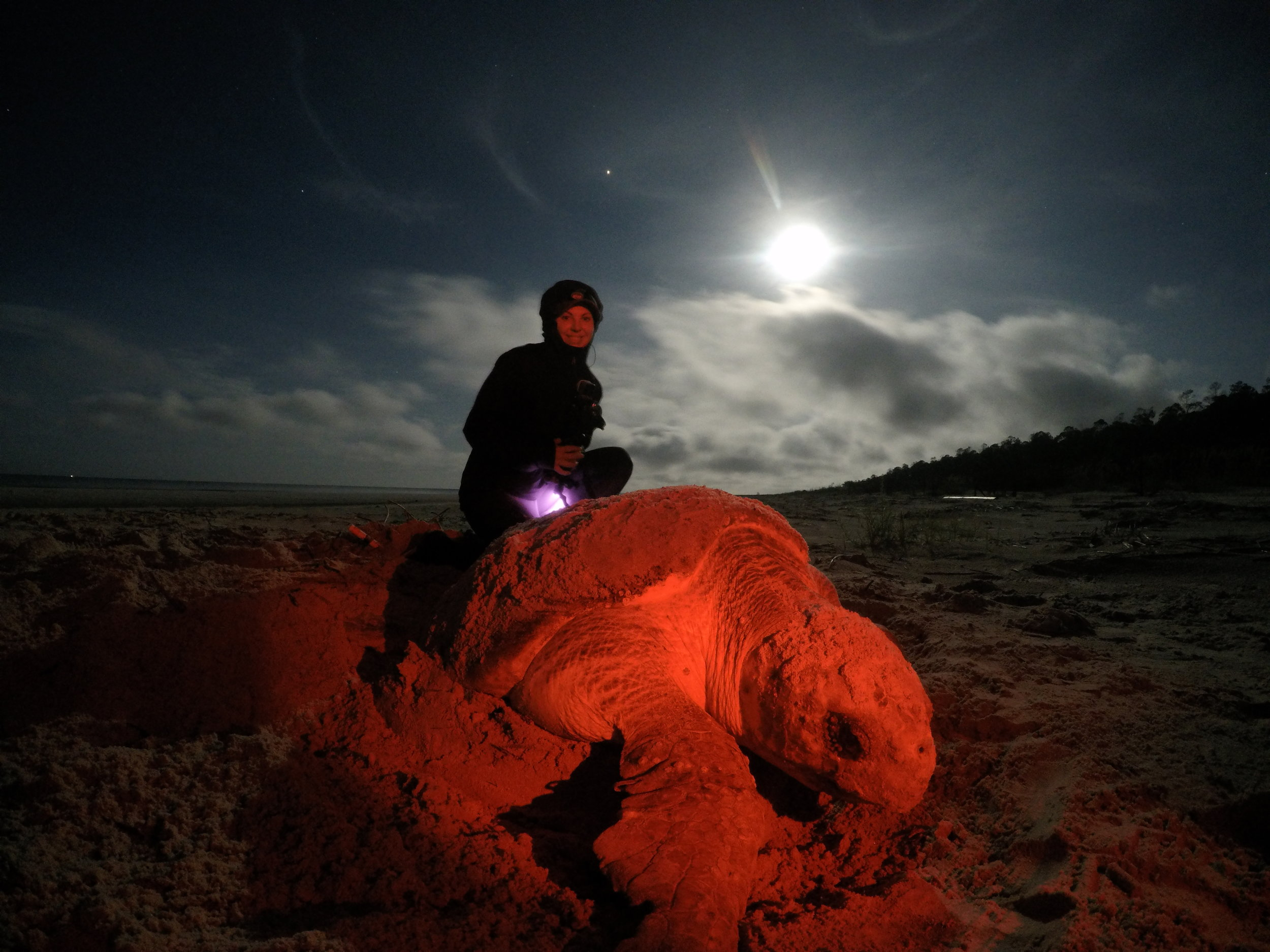 Gopro image of me after a night of filming nesting loggerhead sea turtles. It was my first time ever seeing a wild sea turtle and filming with night vision.