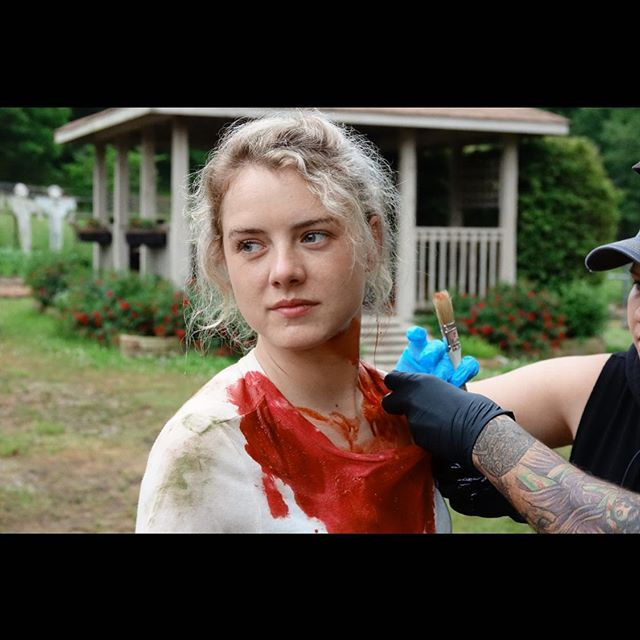 Big shoutout to the birthday girl and star of #alongcamethedevil2 aka Jordan! @lswiggins looks like she had an accident with her peanut butter and jelly sandwich! 😂😂👿💀 • • • Announcement coming next week! Stay tuned! #bts #jordanscominghome #indie #horror #thriller #blood #shameless