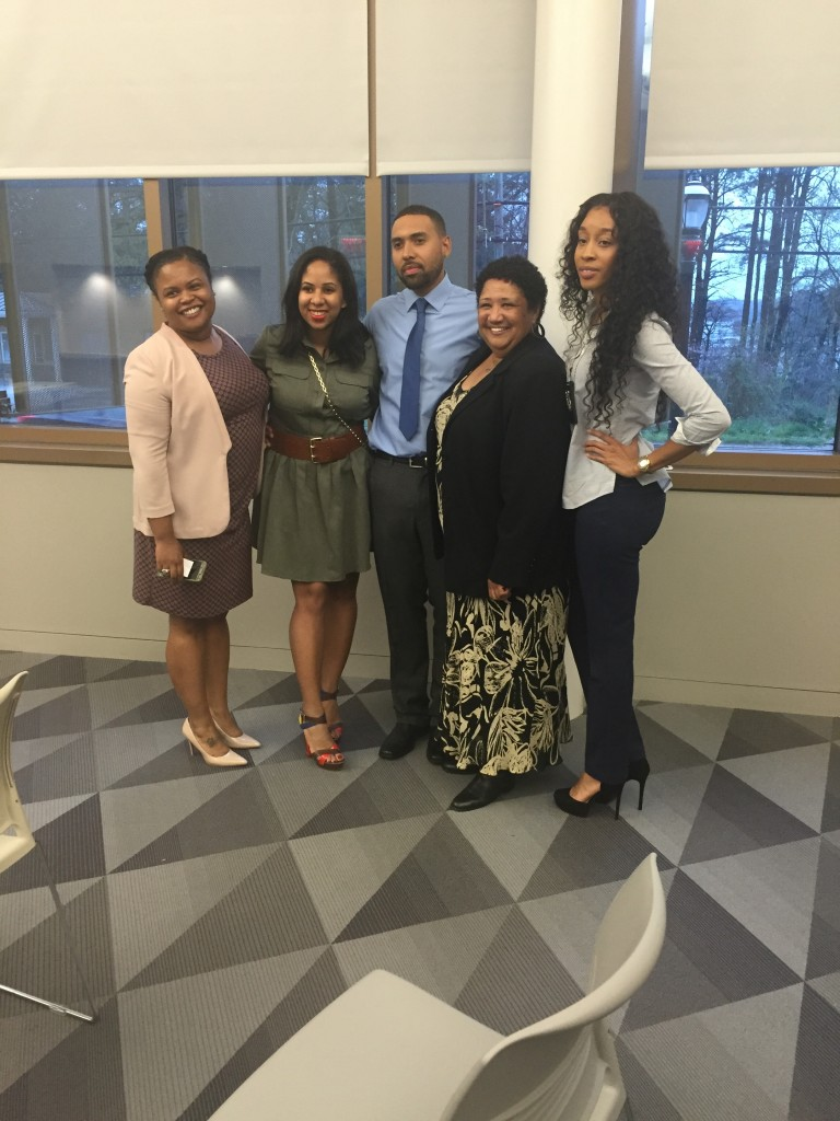 Panelists for Tuo-Be Youth Development Foundation's discussion. From left to right: Apria Brown, Alena Conley, Thomas Powell, and Danielle Ognelodh.