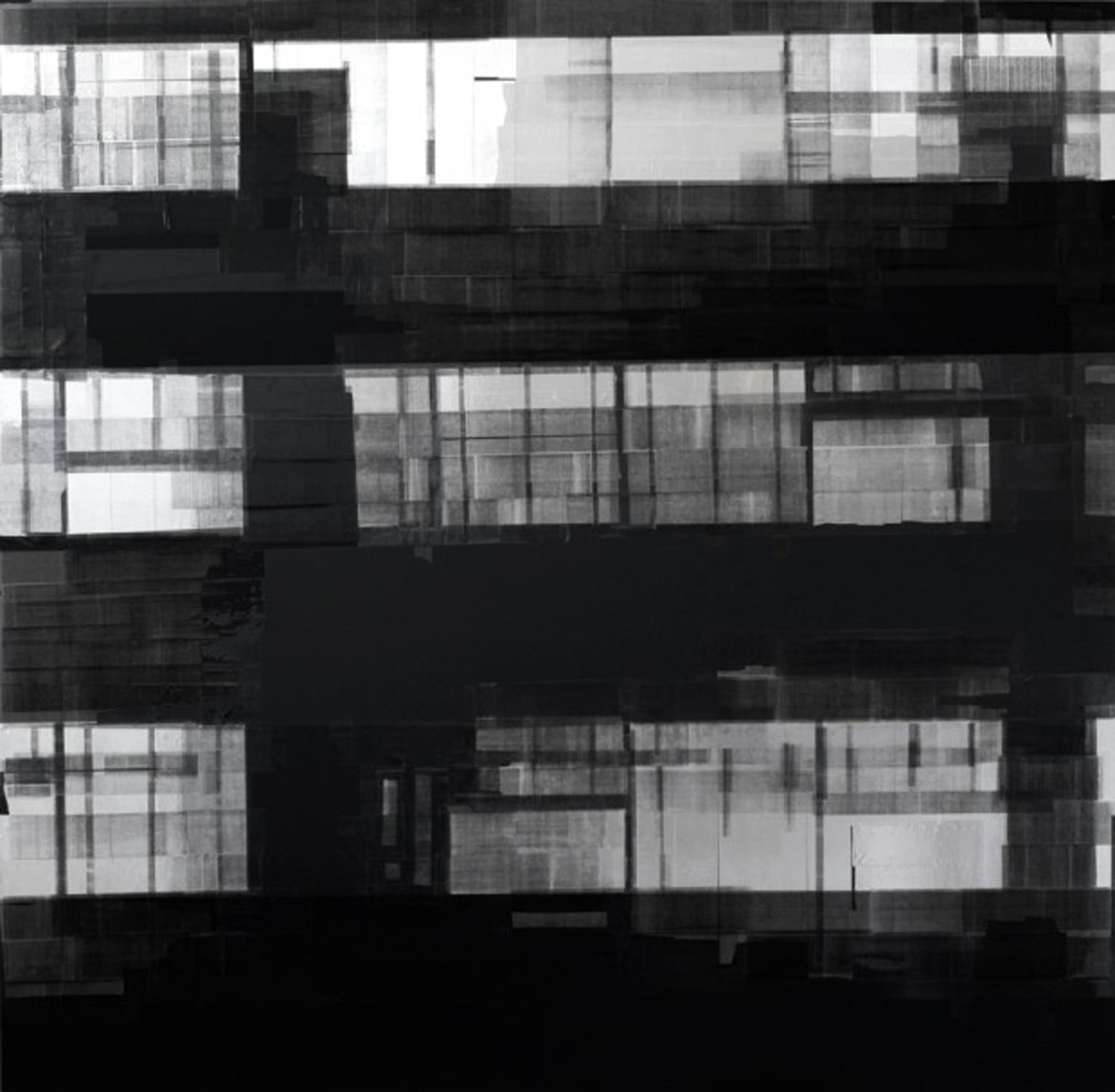 Space of Suspense 3, 47 x 48 inches / 119.4 x 122 cm, aluminum and clear tape with ink toner, board, 2017