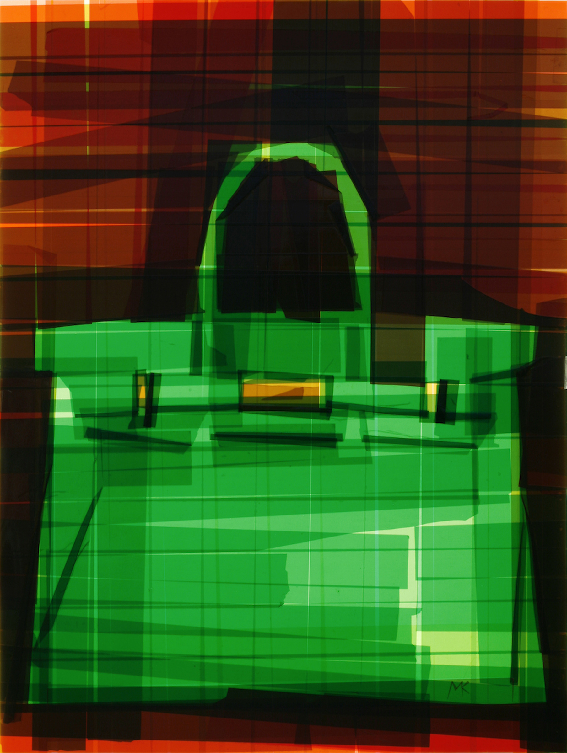 Birkin Bag Glimpse 6, 27 x 20.5 x 6 inches / 69 x 52 x 15.24 cm, packaging tape on acrylic panel with translucent resin light box, 2013