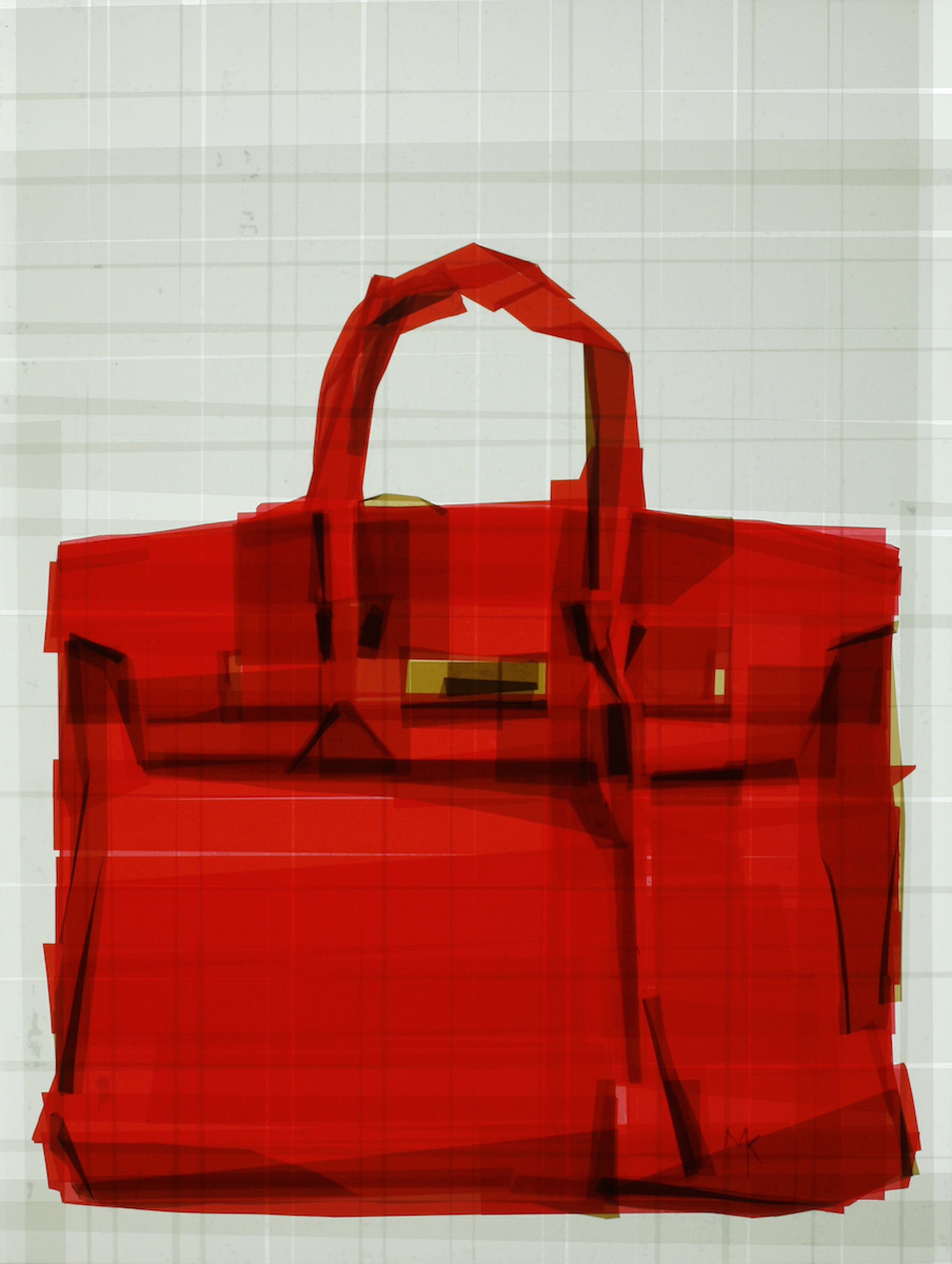Birkin Bag Glimpse 2, 27 x 20.5 x 6 inches / 69 x 52 x 15.24 cm, packaging tape on acrylic panel with translucent resin light box, 2013
