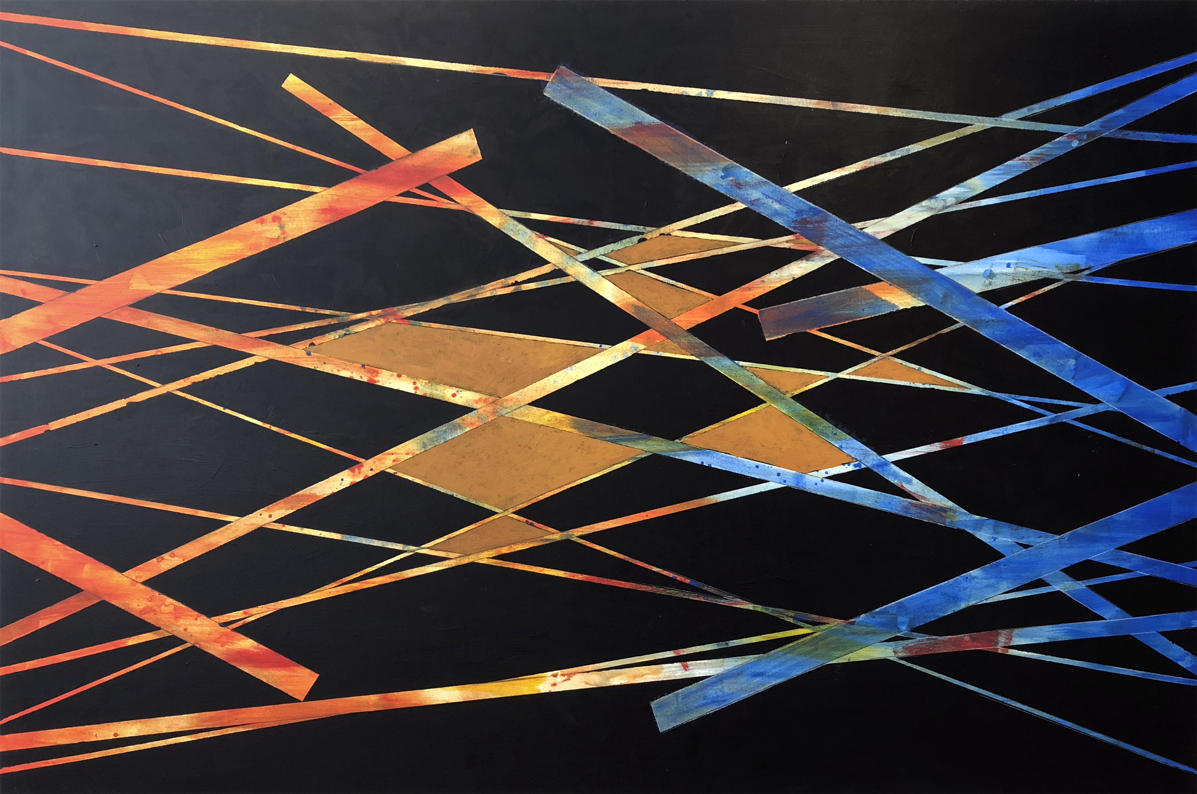 OSVALDO ROMBERG | Dirty Geometry, 48 x 72 inches / 122 x 183 cm, acrylic on canvas, 2013