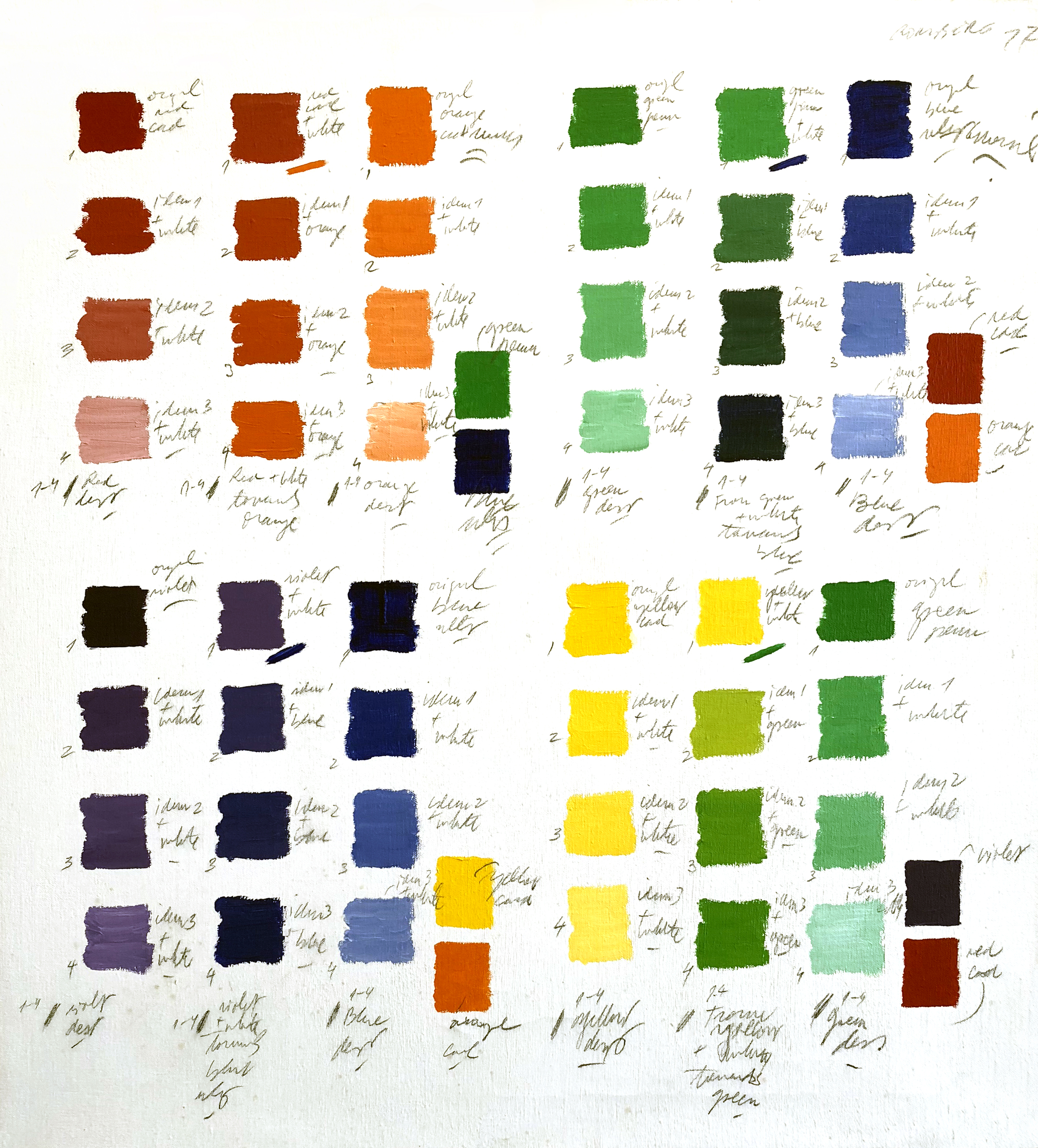 Untitled (Color Classification Series), 28.5 x 27 inches / 72.5 x 68.5 cm, graphite, acrylic on canvas, 1977