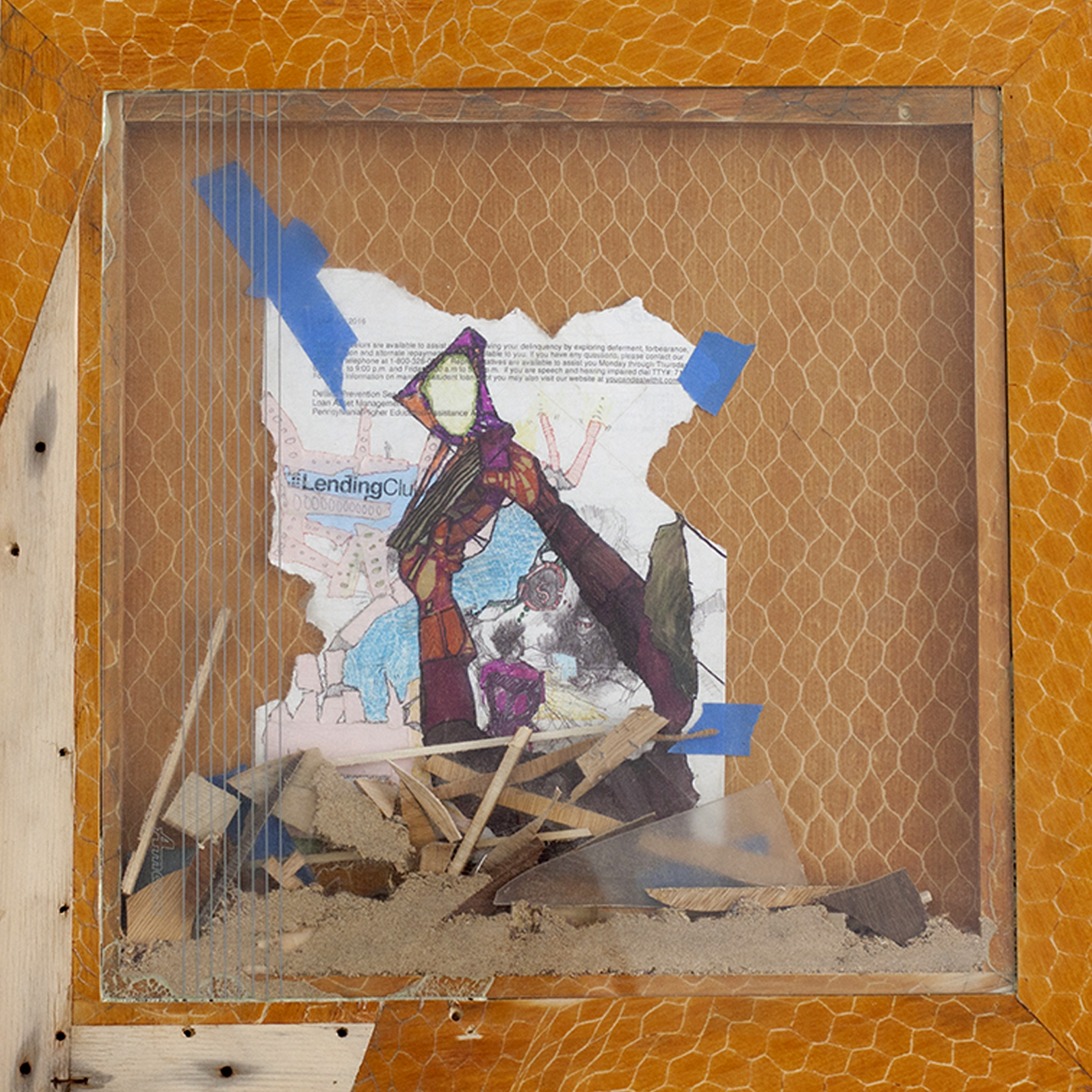 Debt Consolidation: Sedimentation Series, 20 x 20 inches / 50.8 x 50.8 cm, frame and dust from Chicago public school materials, 2017
