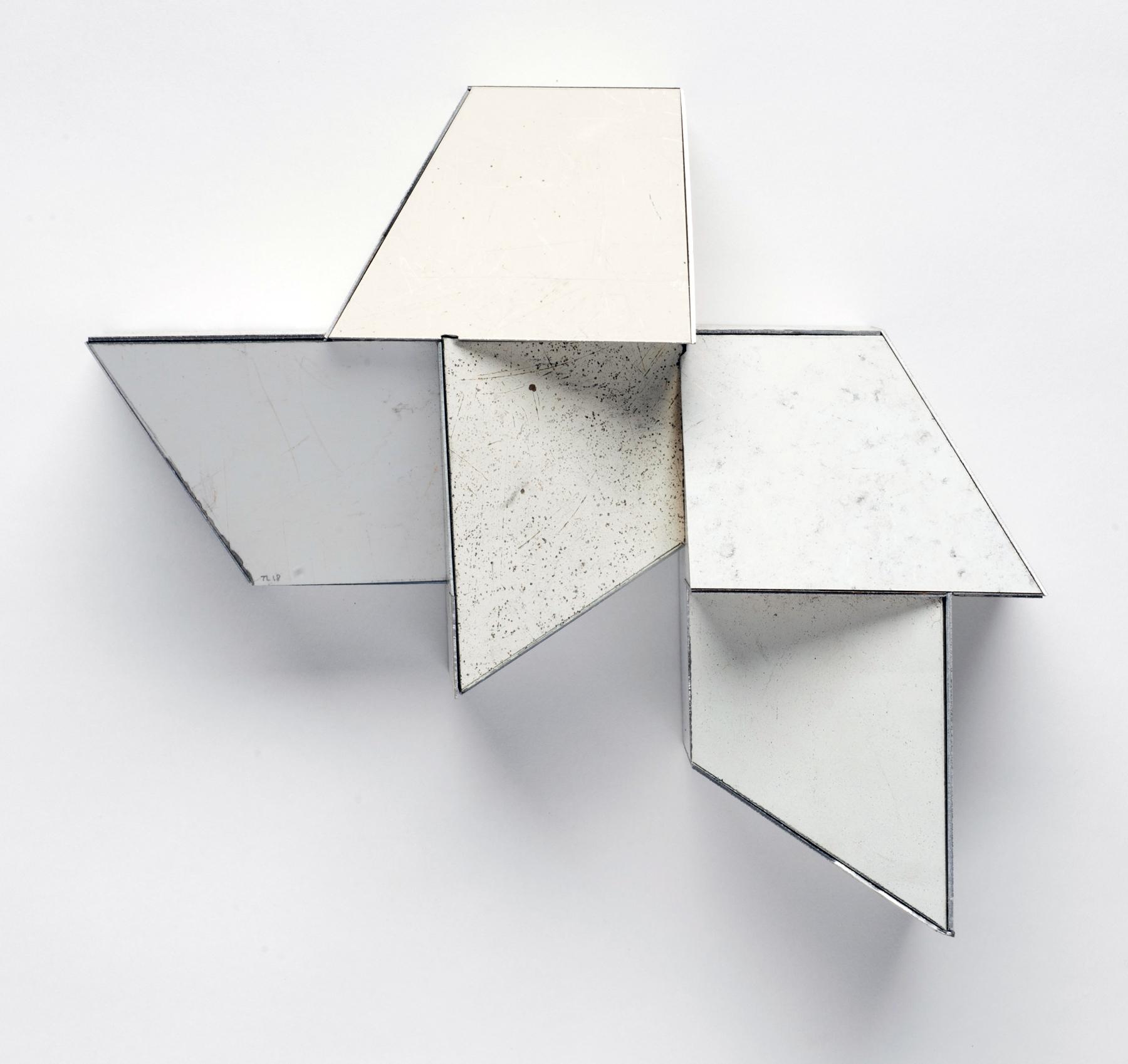 Random Pattern, 7.75 x 8.25 x 3.25 inches / 19.7 x 21 x 8.3 cm, salvage steel, marine-grade plywood, silicone, vulcanized rubber, hardware, 2018