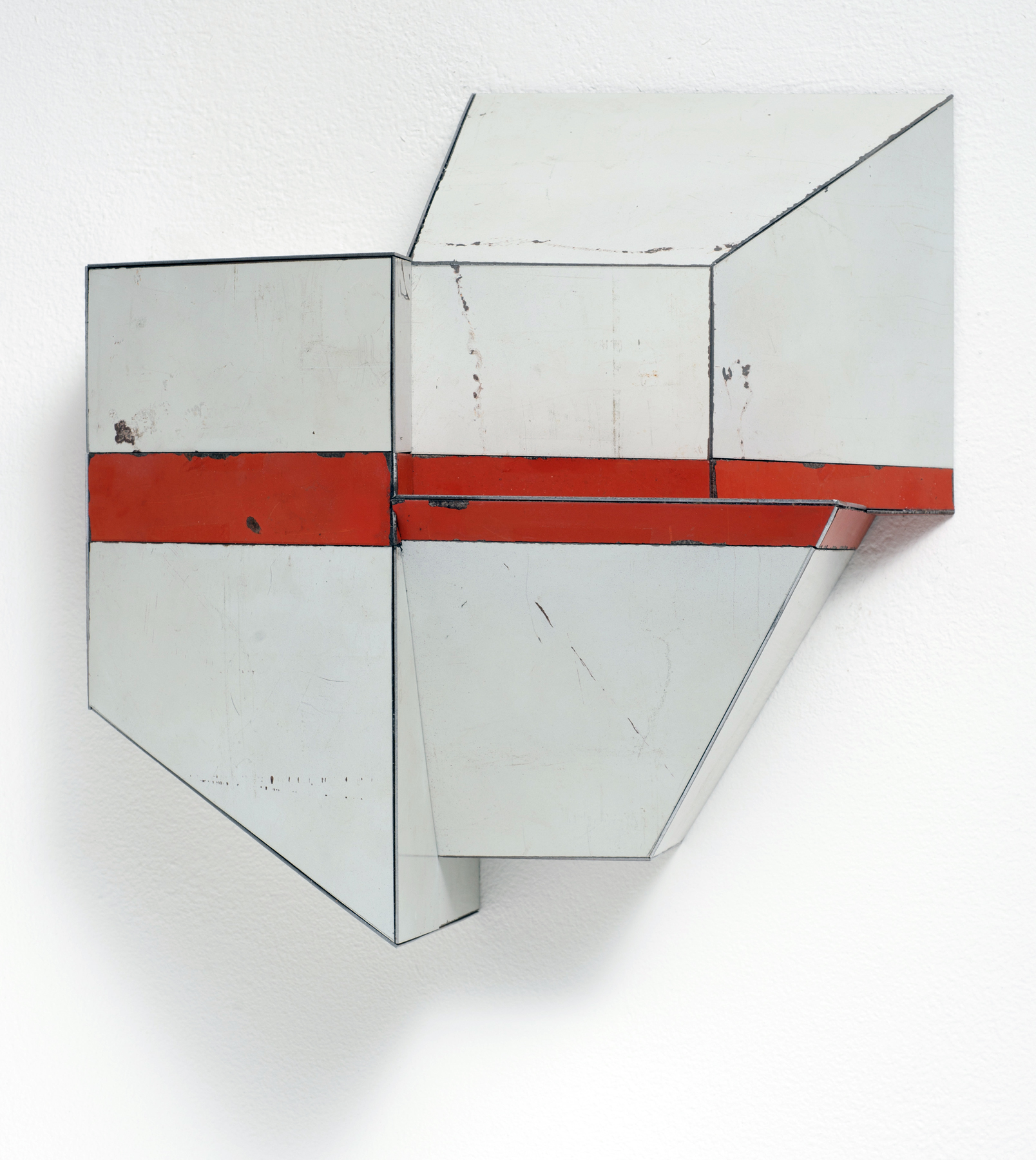 Divided Unity, 10 x 10 x 5 inches / 25.4 x 25.4 x 12.7 cm, salvage steel, marine-grade plywood, silicone, vulcanized rubber, hardware, 2018