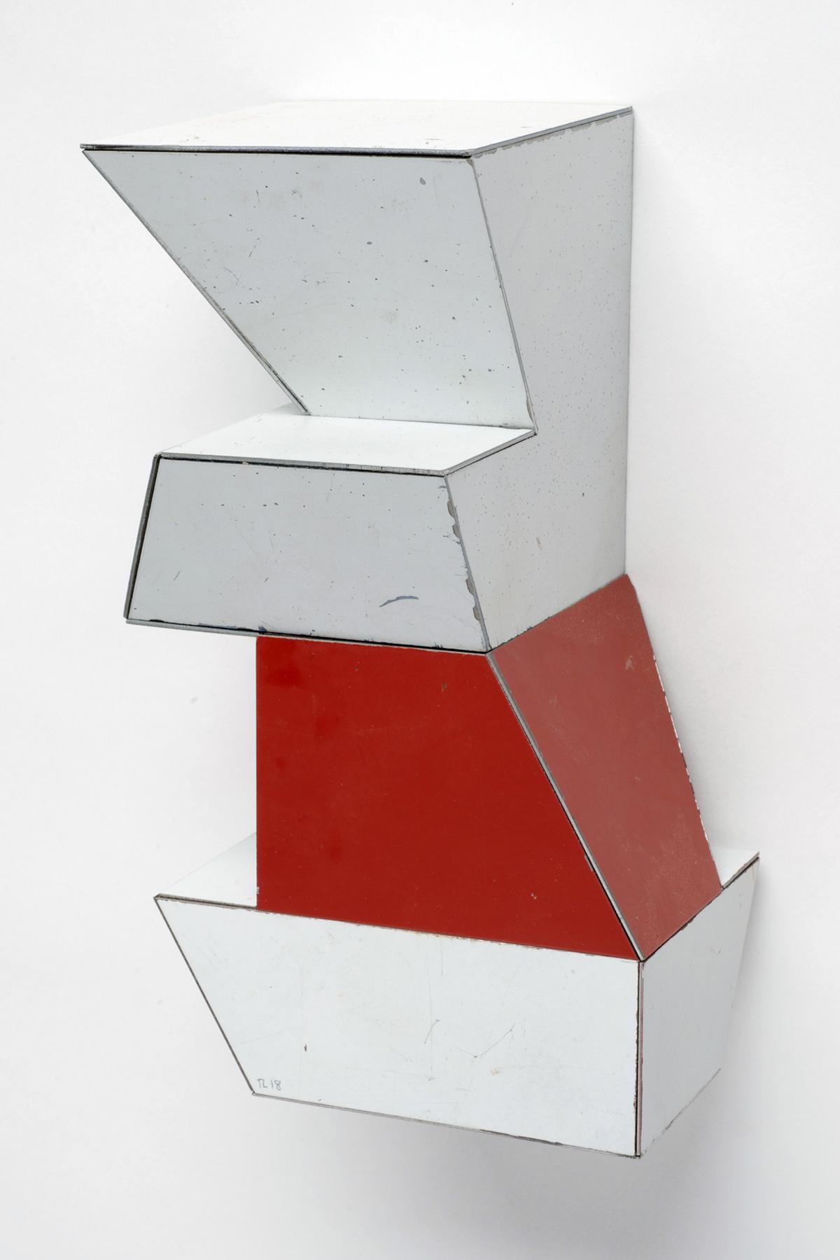 Fuzzy Logic, 7.5 x 4 x 4 inches / 19 x 10.2 x 10.2 cm, salvage steel, marine-grade plywood, silicone, vulcanized rubber, hardware, 2018