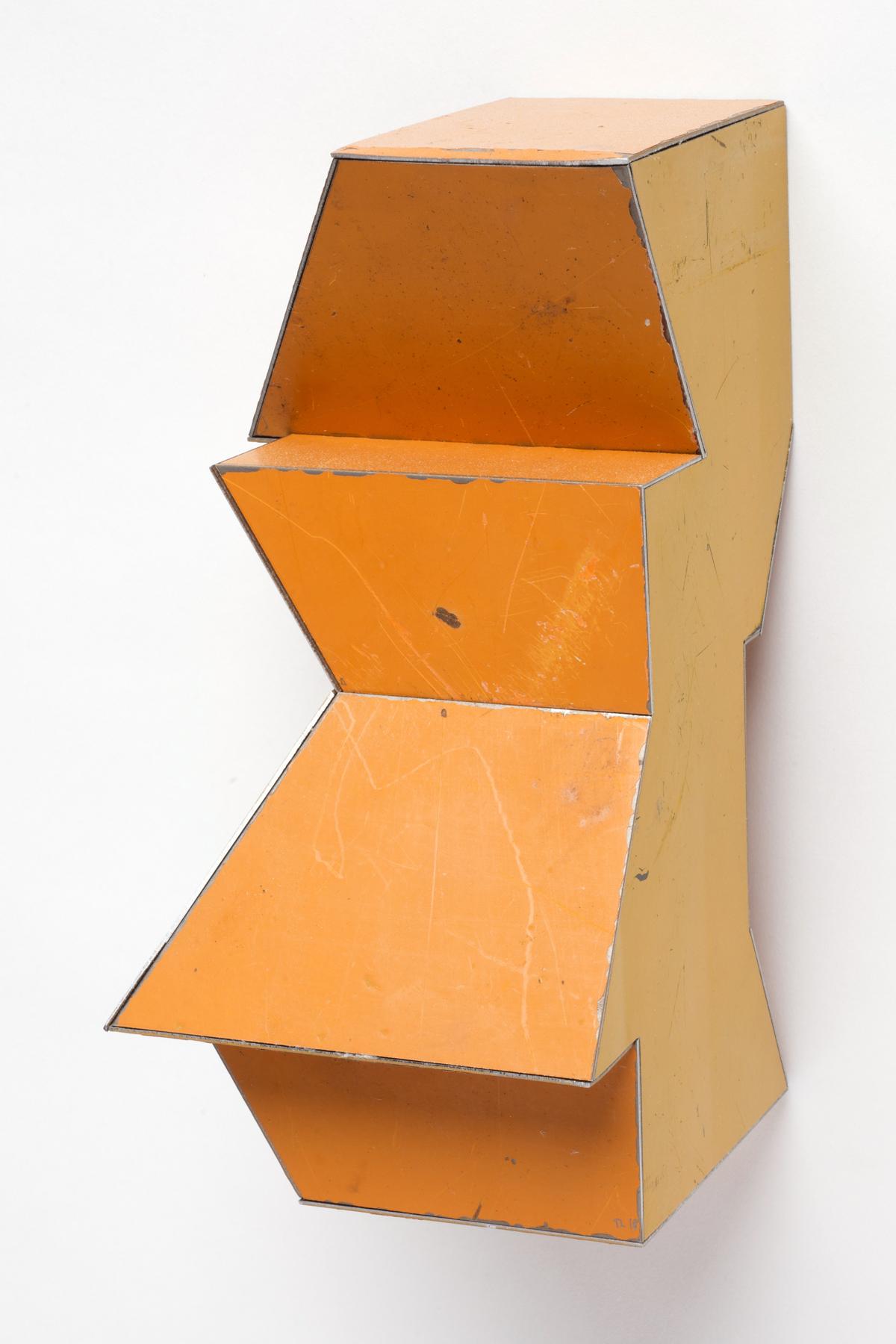 Single Copy, 7.5 x 3.5 x 4 inches / 19 x 8.9 x 10.2 cm, salvage steel, marine-grade plywood, silicone, vulcanized rubber, hardware, 2018