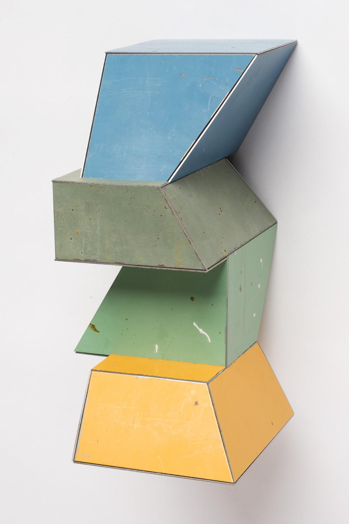 Major Minority, 7.5 x 4 x 4.25 inches / 19 x 10.2 x 10.8 cm, salvage steel, marine-grade plywood, silicone, vulcanized rubber, hardware, 2018