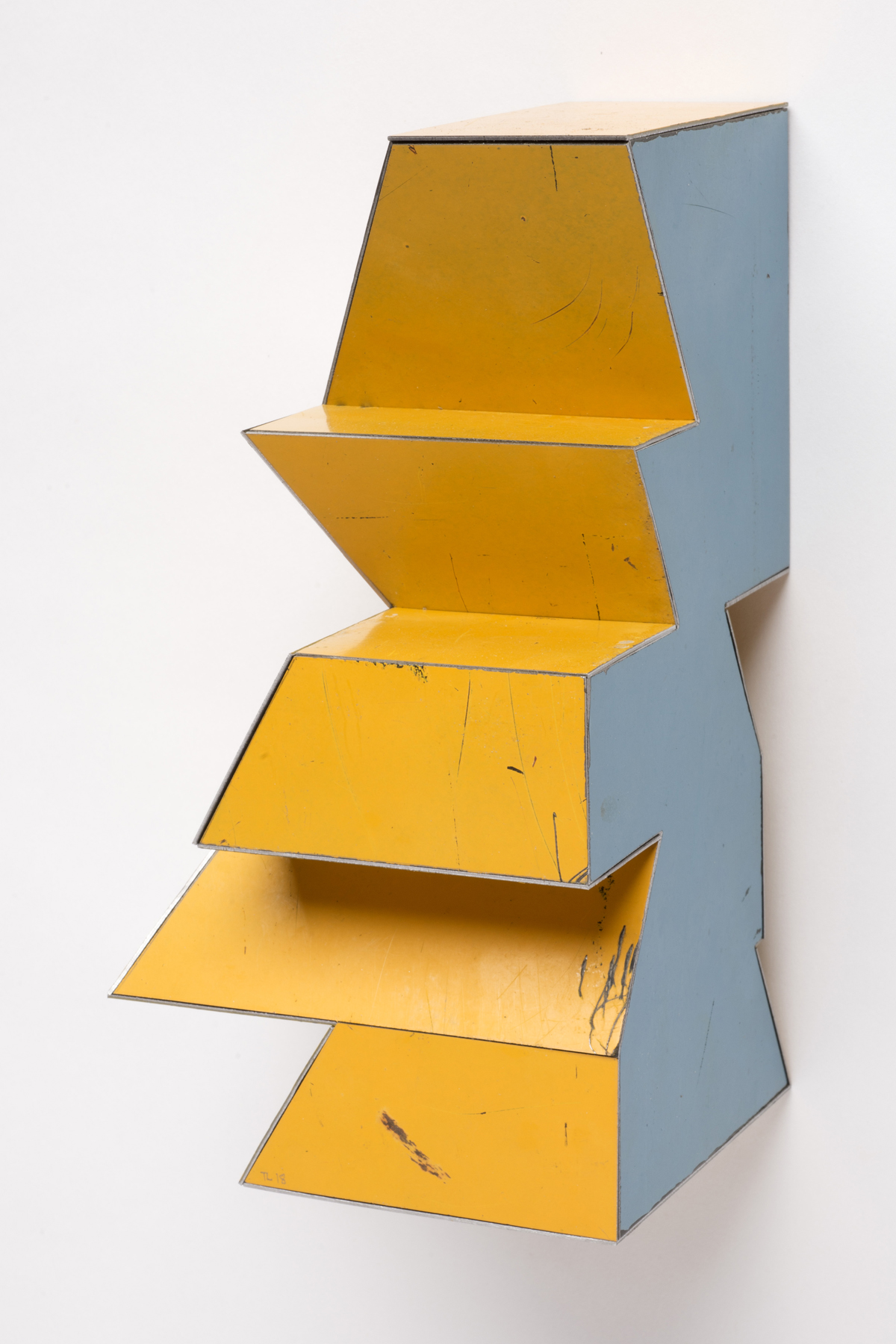 False Fact, 8 x 4.25 x 4.25 inches / 20.3 x 10.8 x 10.8 cm, salvage steel, marine-grade plywood, silicone, vulcanized rubber, hardware, 2018