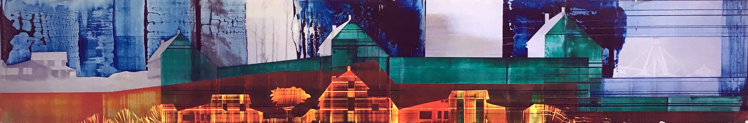 Green House, 12 x 60 inches / 30.5 x 152.4 cm, galkyd oil on chromogenic print, 2017