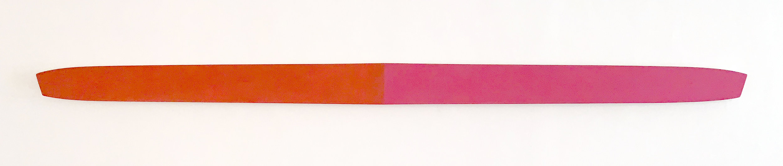 Illusion of Flight #2, 5.25 x 88.75 x 2 inches / 13.5 x 255.2 x 5 cm, acrylic on poplar, 2019