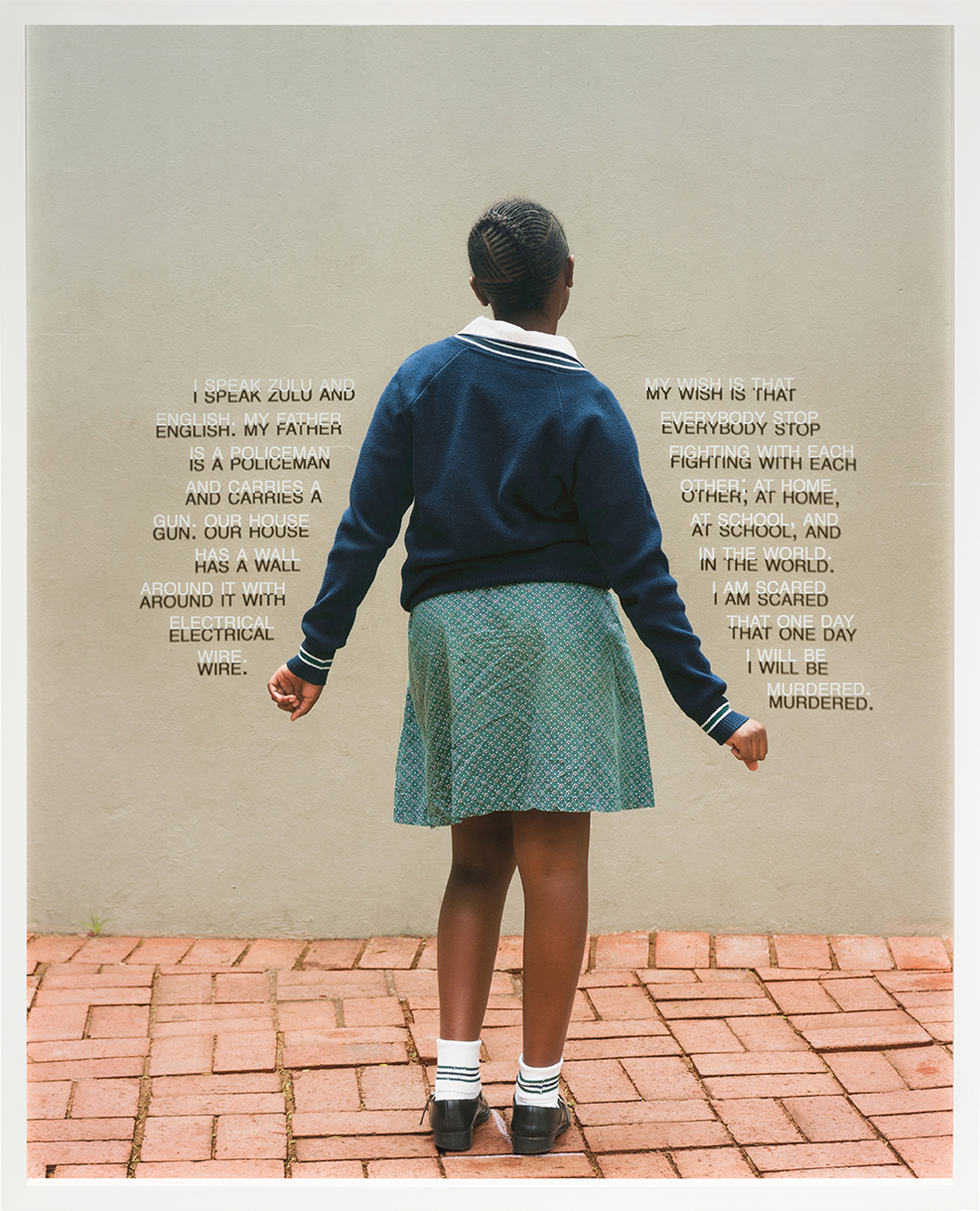 Fourth Grade - Be Murdered (South Africa: Public School), 31.25 x 25 inches / 79.4 x 63.5 cm, framed shadow box, archival pigment print - text printed on plexi-glass, edition 1/7, 2018