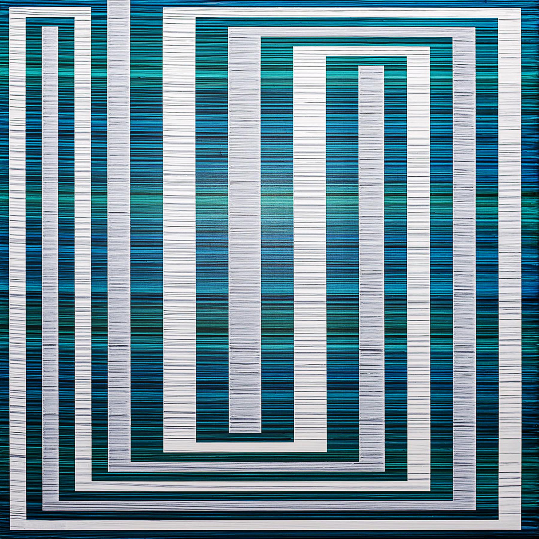 Bandwidth (Naiad), 40 x 40 inches / 101.6 x 101.6 cm, acrylic on muslin on panel, 2019