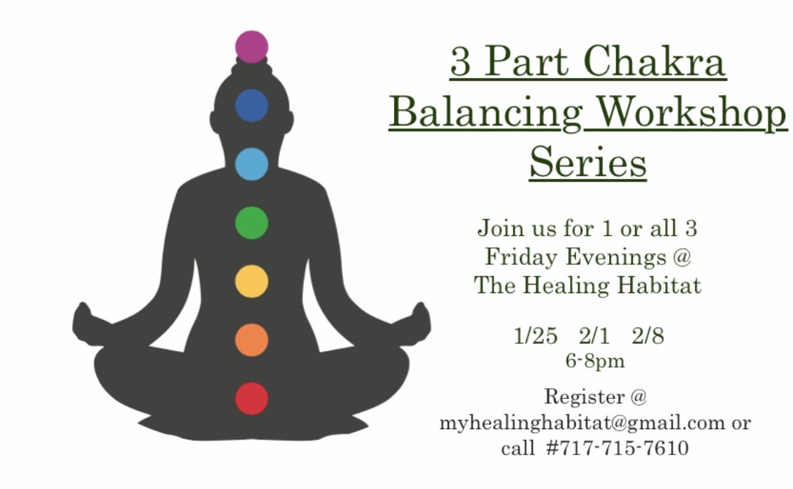 3 Part Intro to Chakra Balancing & Holistic Therapy Workshop - Fridays @ 6-8pmJan 25th - Feb 1st - Feb 8th
