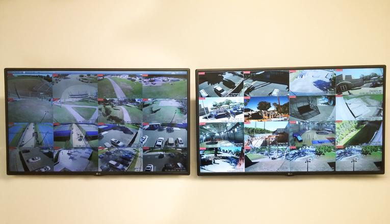 CCTV Monitors at Westchester Park, Los Angeles, California