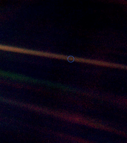 """Pale Blue Dot,"" Voyager 1 on February 14, 1990, NASA"