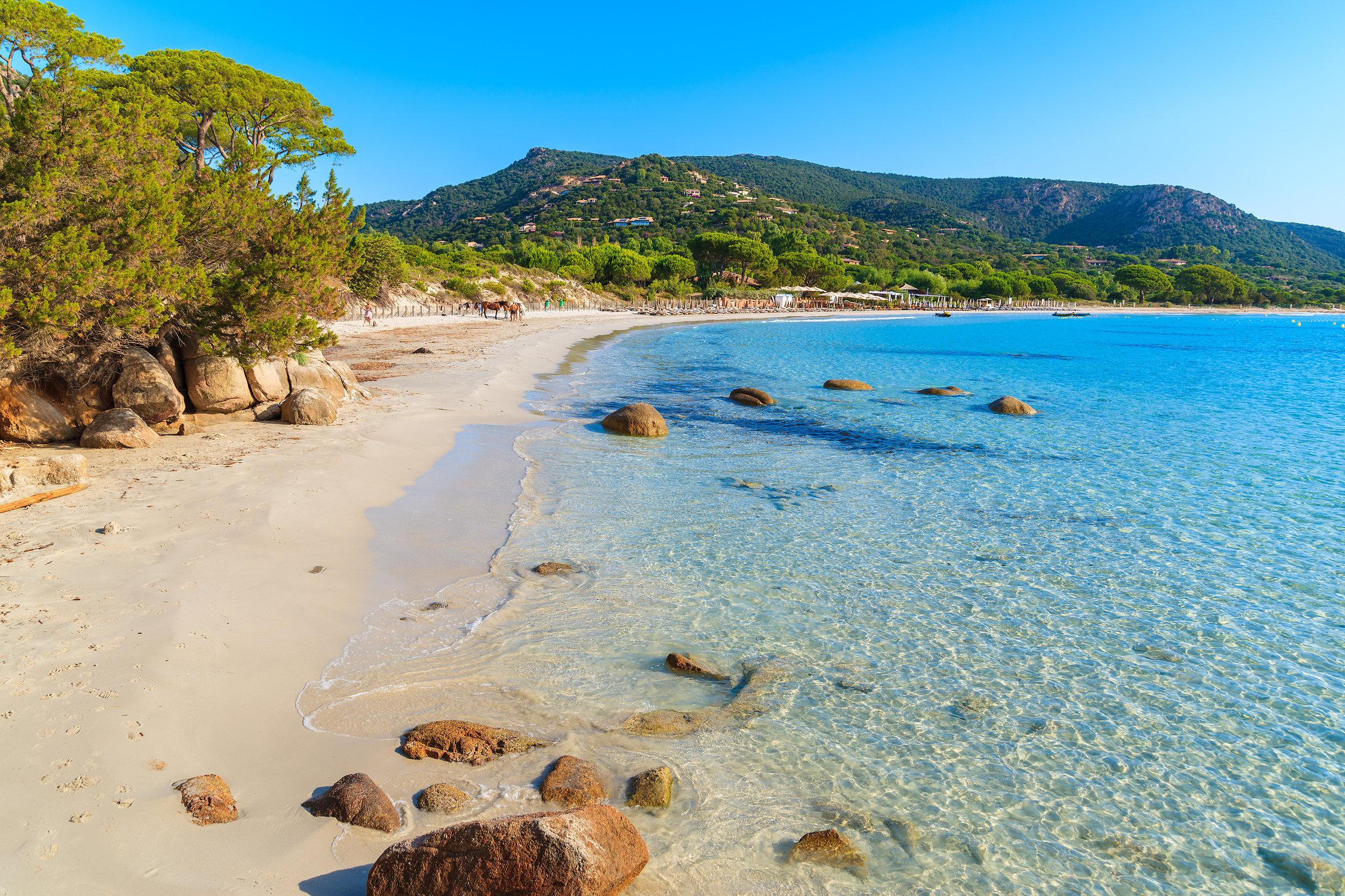 Crowded corsican beach