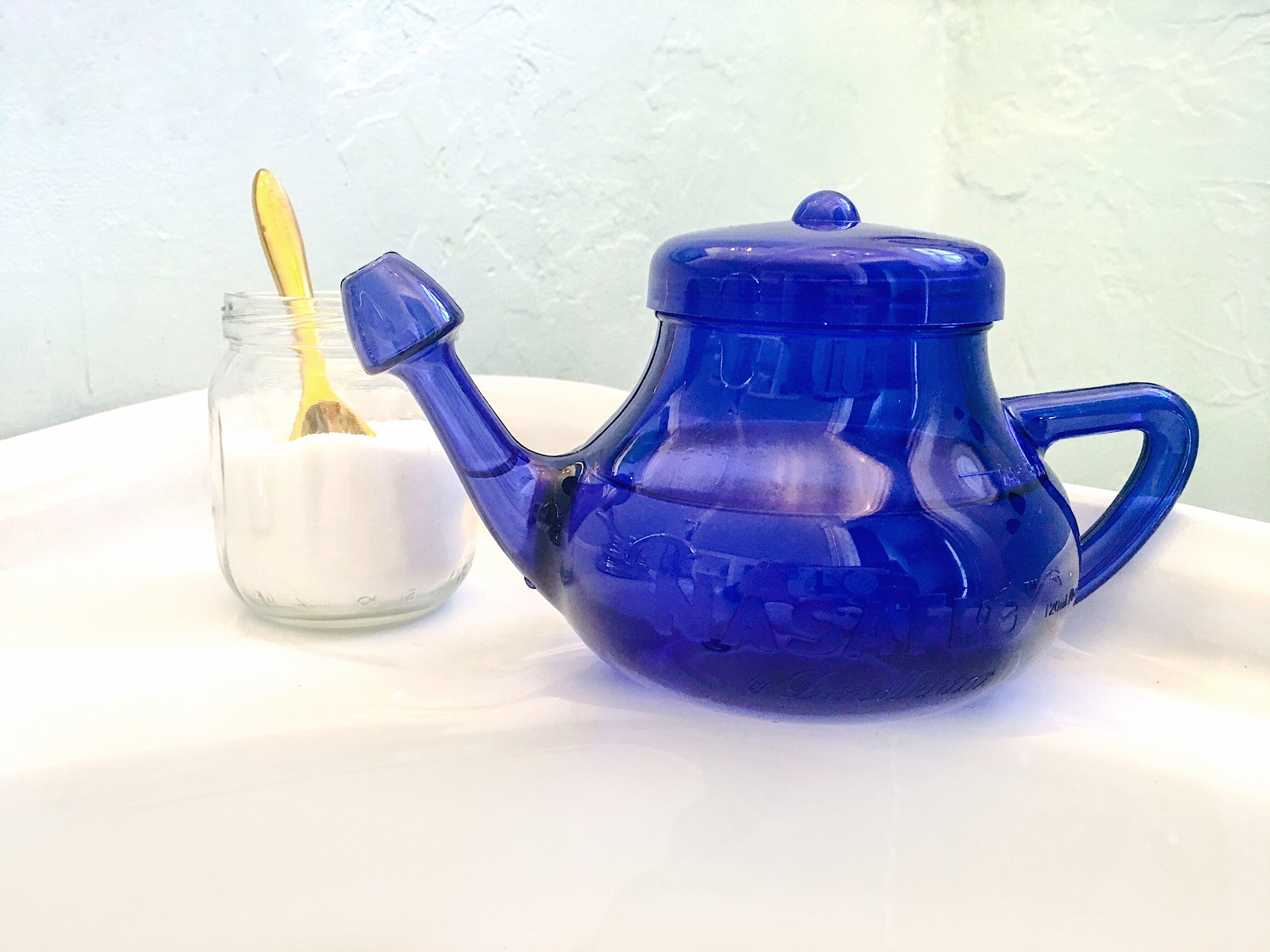 Homemade solution. - -Courtesy: Grandma DannaIngredients:Mix 2 Tbsp salt to 1 tsp baking soda. Add 1 drop rosemary essential oil and 2 drops eucalyptus essential oil. Put 1/8 tsp of the solution in your neti pot and mix with water. (It's best to use distilled).