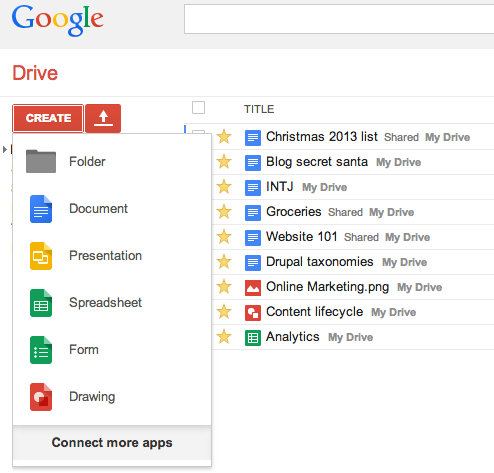 First, go to Google Drive.