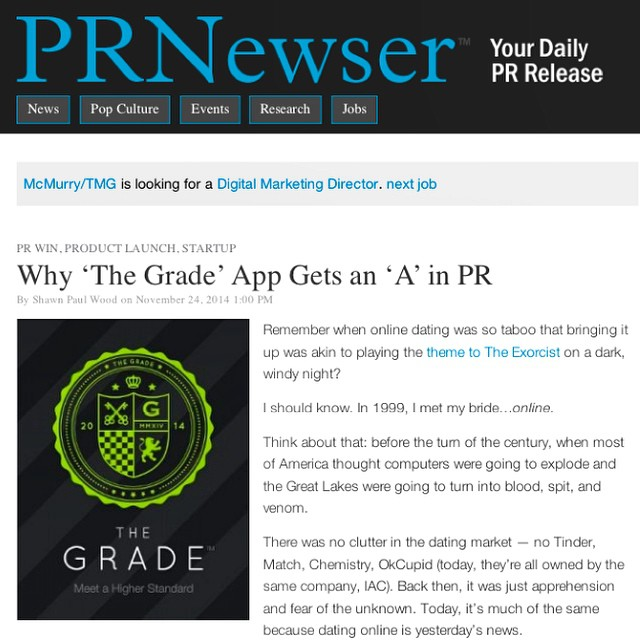 We're honored to be featured in this #PRNewser article giving our client @thegradeapp an 'A' in #PR. Thank you for recognizing the hard work and strategy that goes into a successful product and launch! Check out our Facebook page for a link to the full article.
