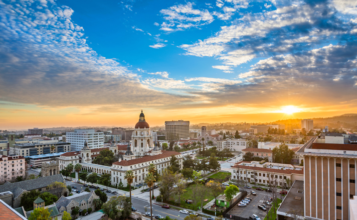 A beautiful overview of Old Town and Pasadena City Hall during a classic California sunset