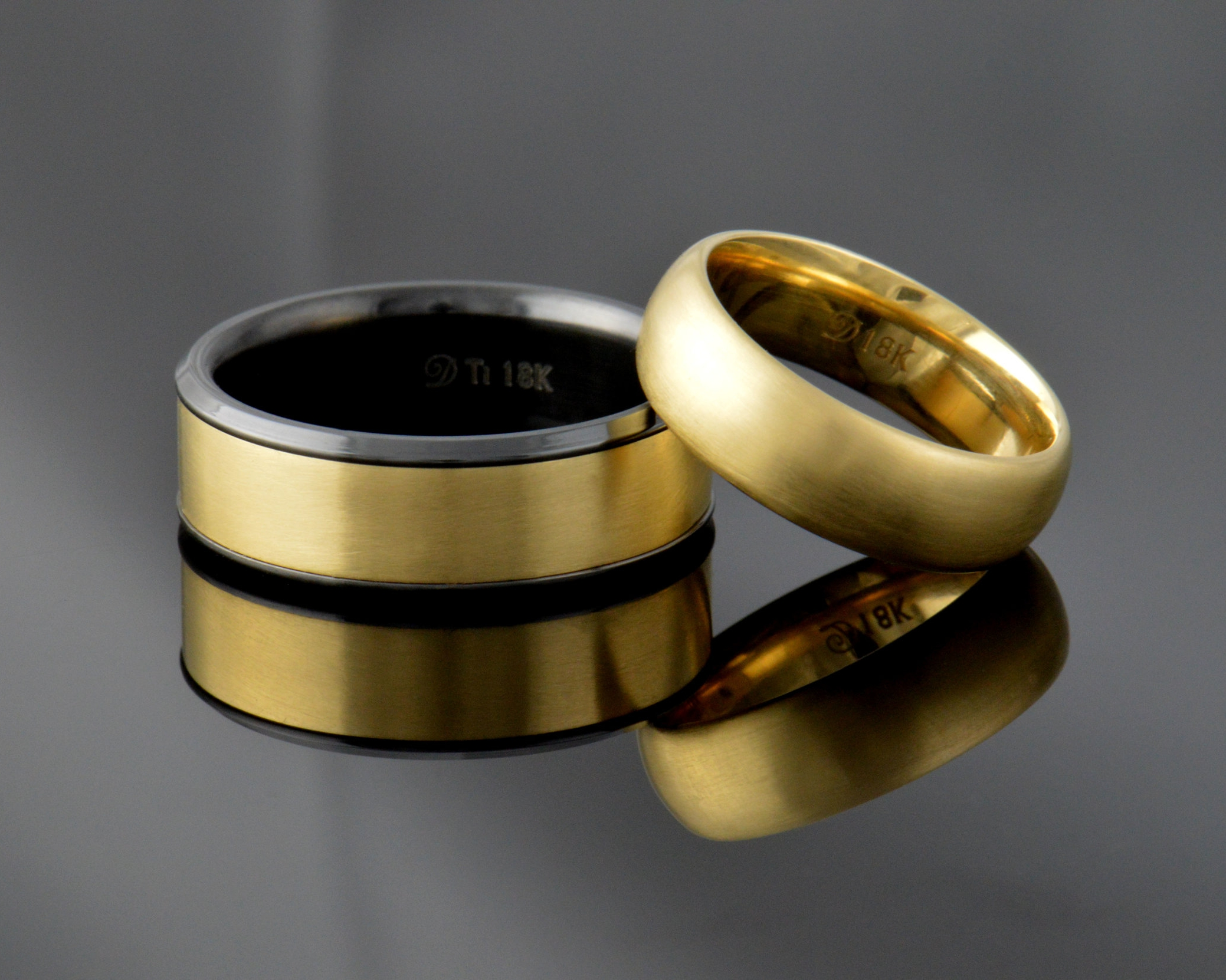 Gold - It's not gold unless it's gold. In this case with a black zirconium band inlaid with 18k to match. 9-22k in yellow, white, green and, rose. See all the colors availiable  here .