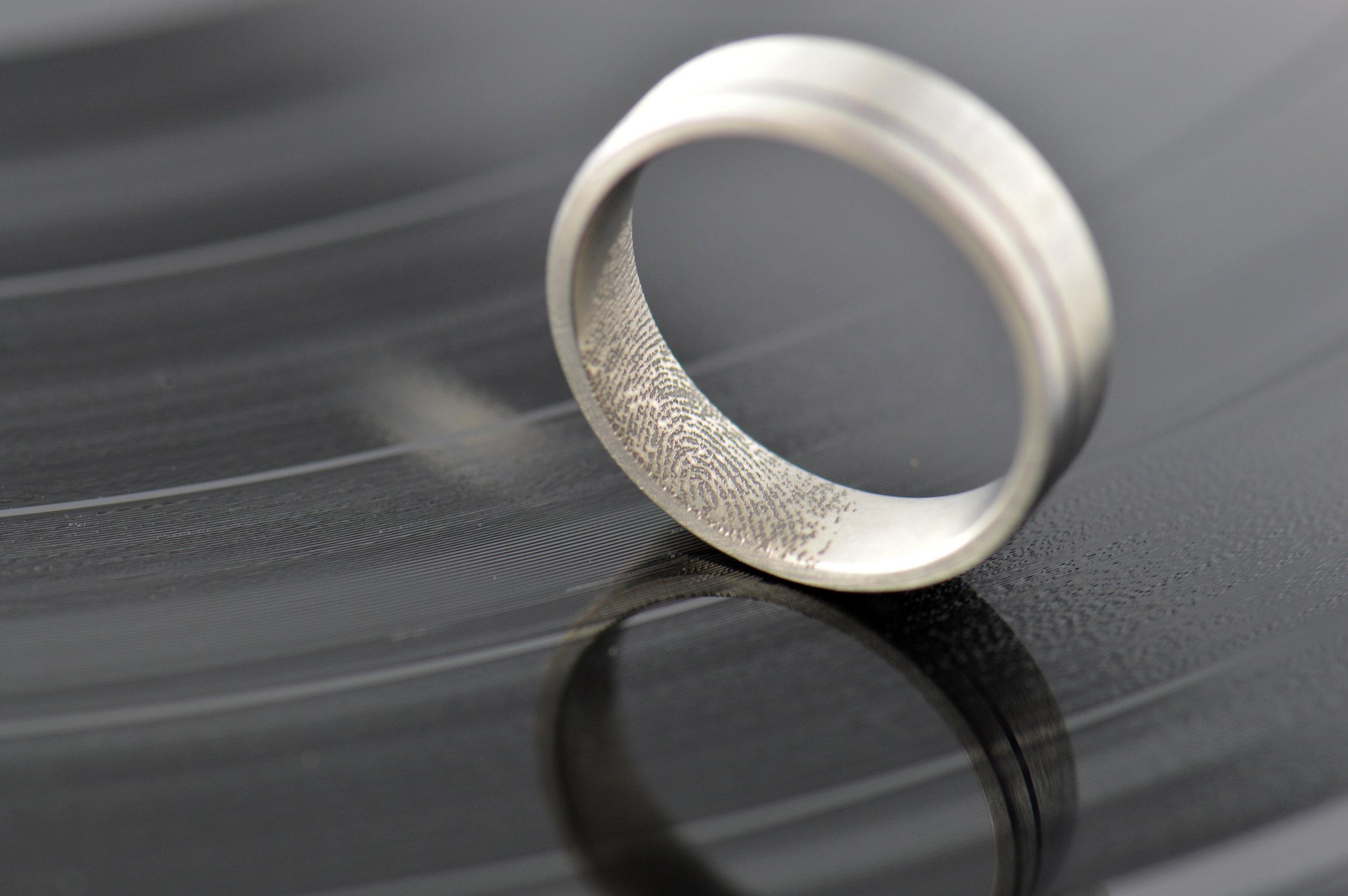 Partners fingerprint in his ring. Lovely…