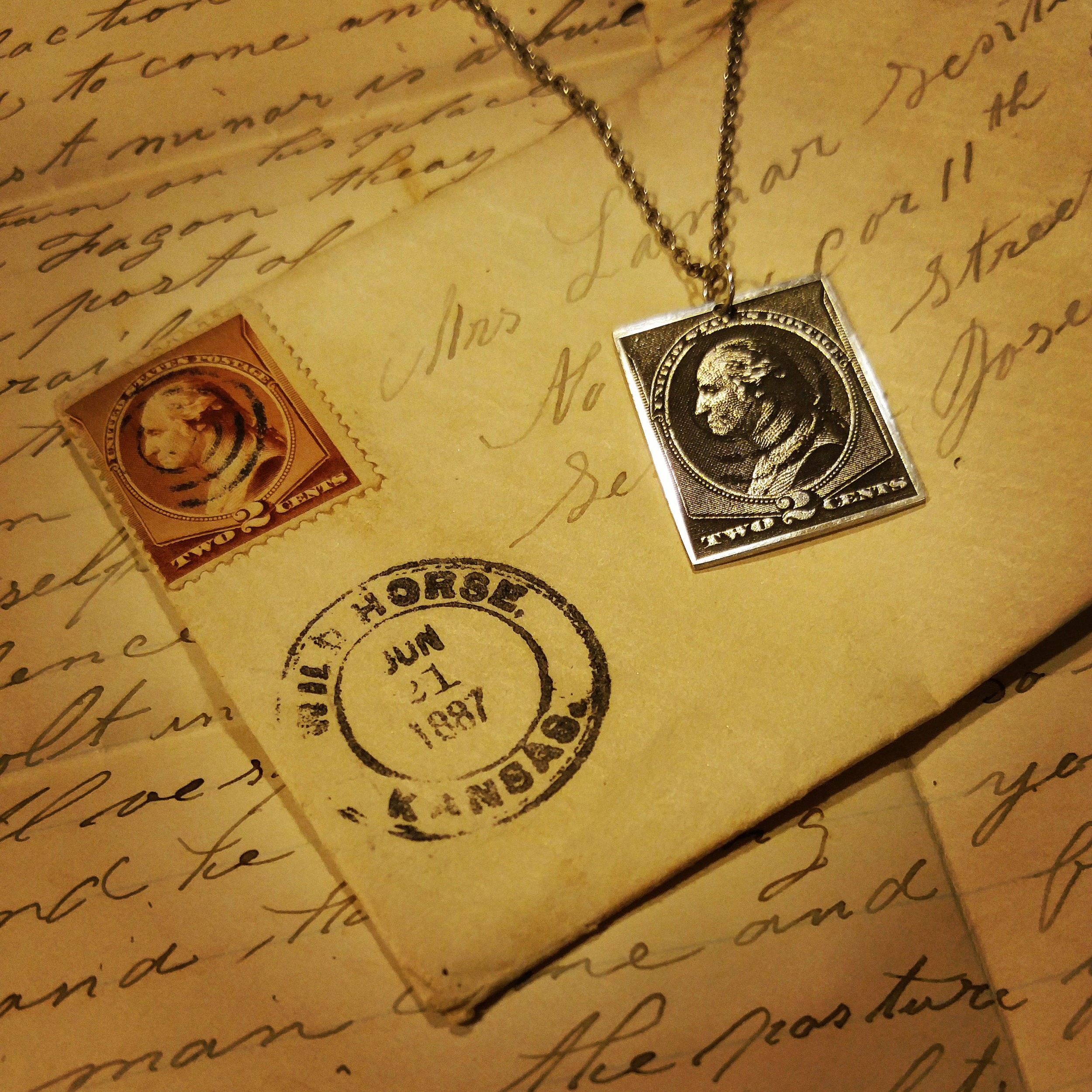 Ask about our Love Letter promotion benefiting the USO in the month of February. Engraved 2 cent stamp from 1887.