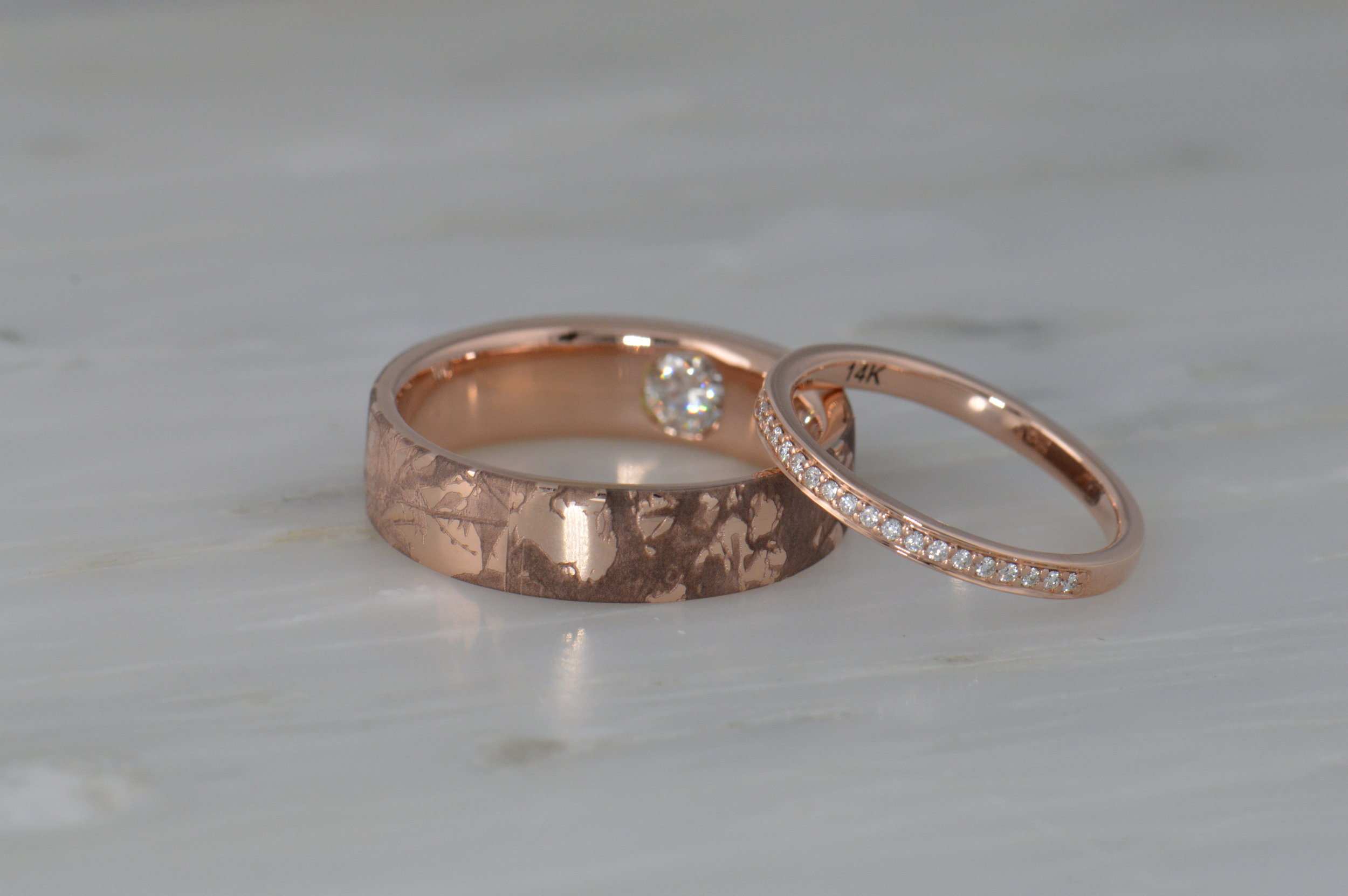 Autumn leaves photo from the client engraved on his wedding ring.