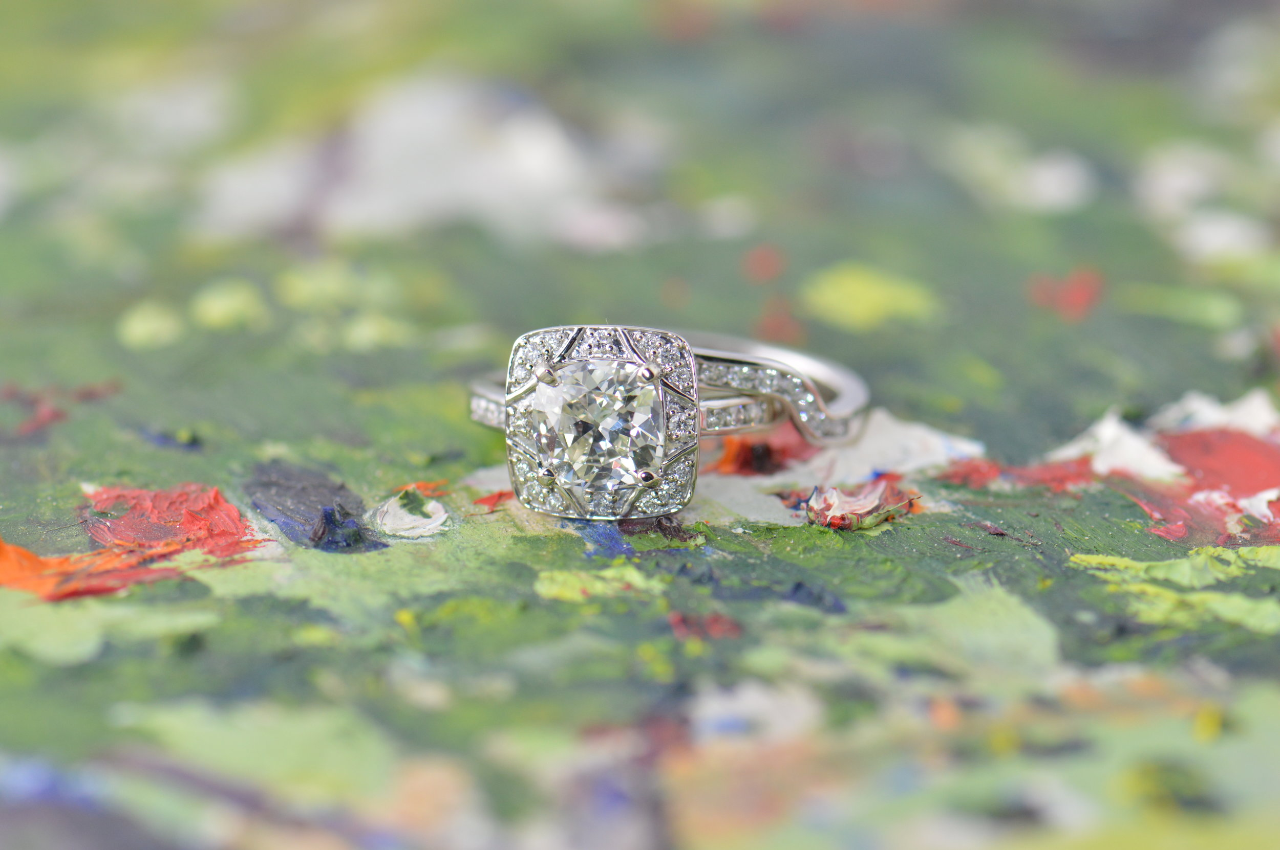 darvier-vintage-cushion-cut-custom-wedding-set-on-a-painting-to-be-social.JPG