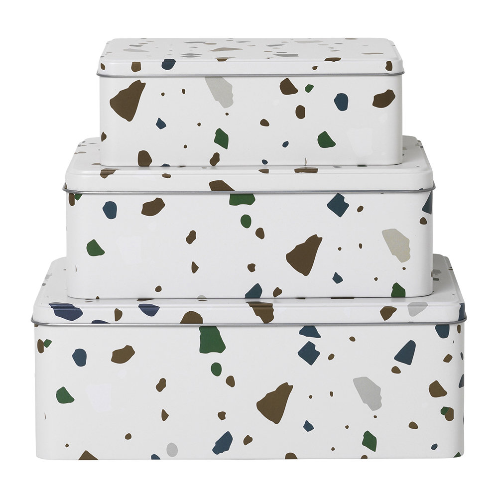 Terrazzo Tin Boxes by FERM LIVING